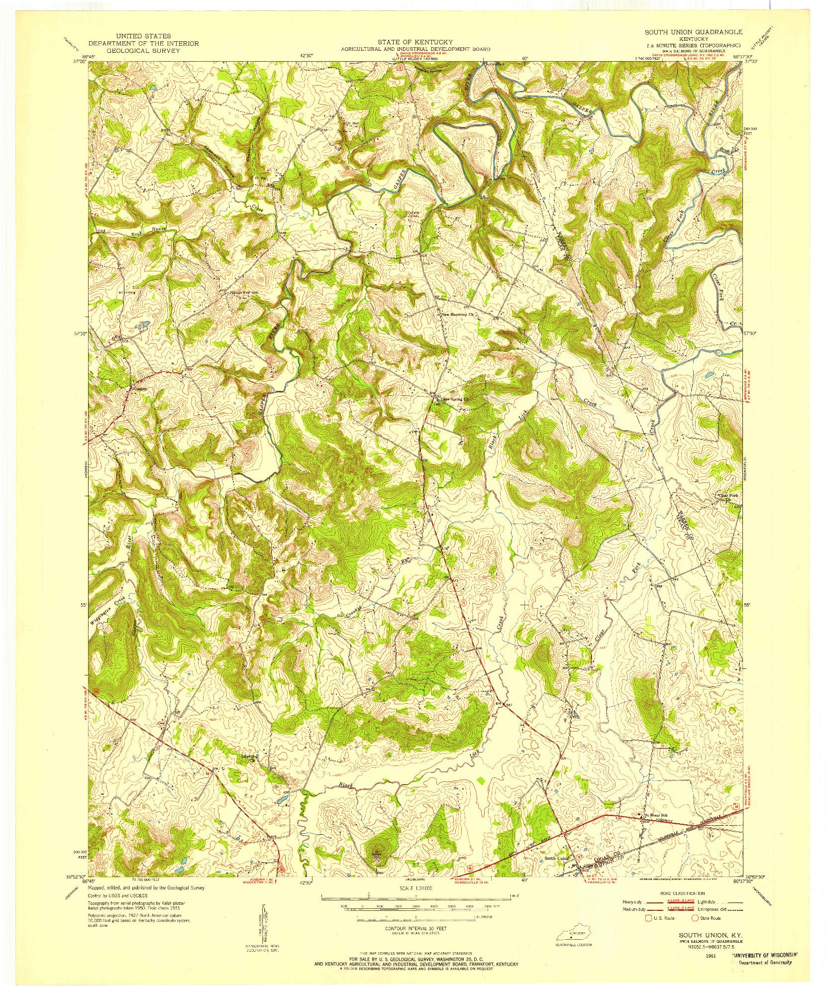 USGS 1:24000-SCALE QUADRANGLE FOR SOUTH UNION, KY 1951