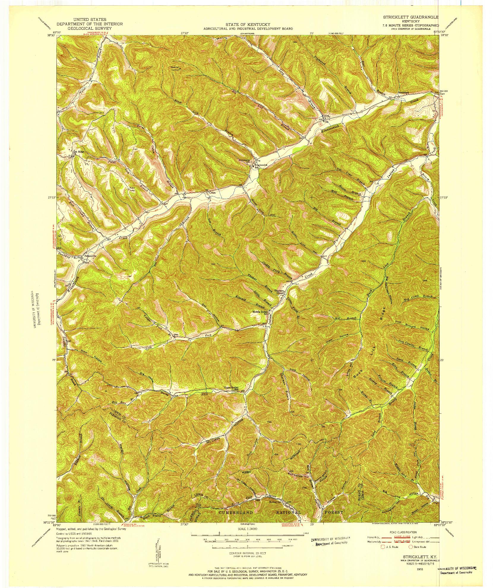 USGS 1:24000-SCALE QUADRANGLE FOR STRICKLETT, KY 1951