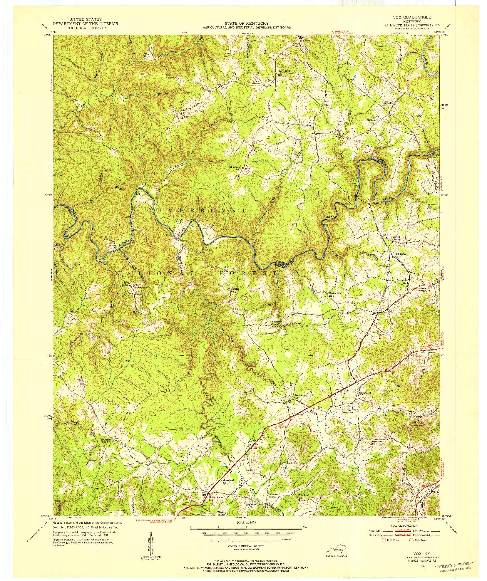 USGS 1:24000-SCALE QUADRANGLE FOR VOX, KY 1952