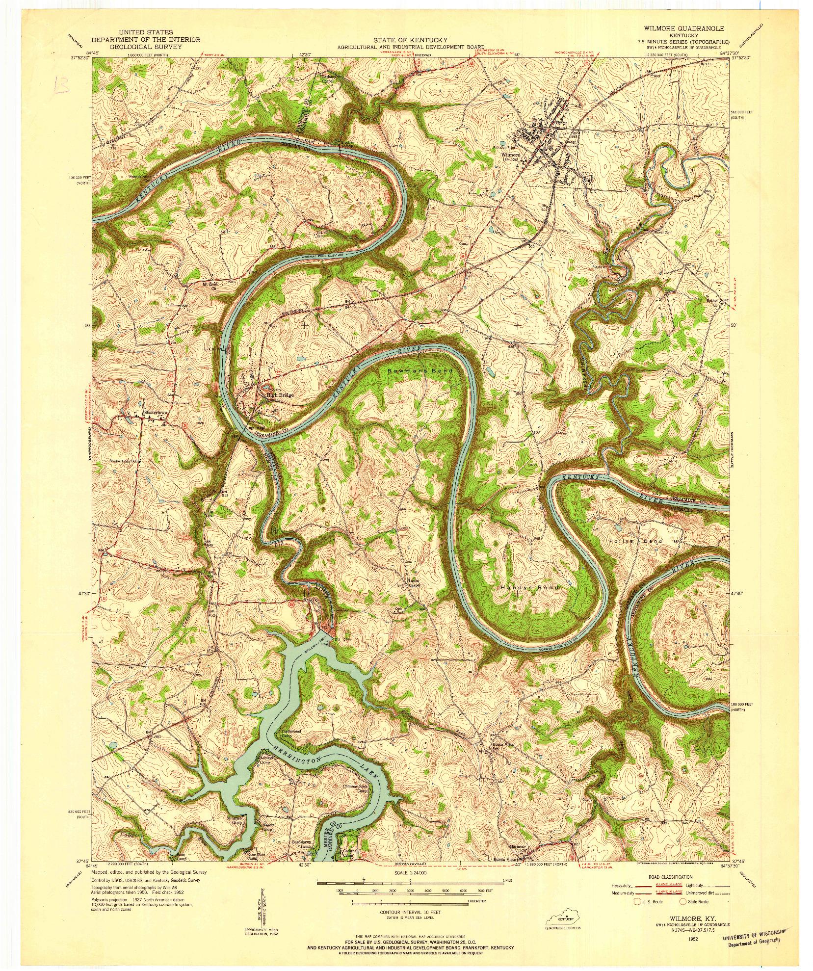 USGS 1:24000-SCALE QUADRANGLE FOR WILMORE, KY 1952