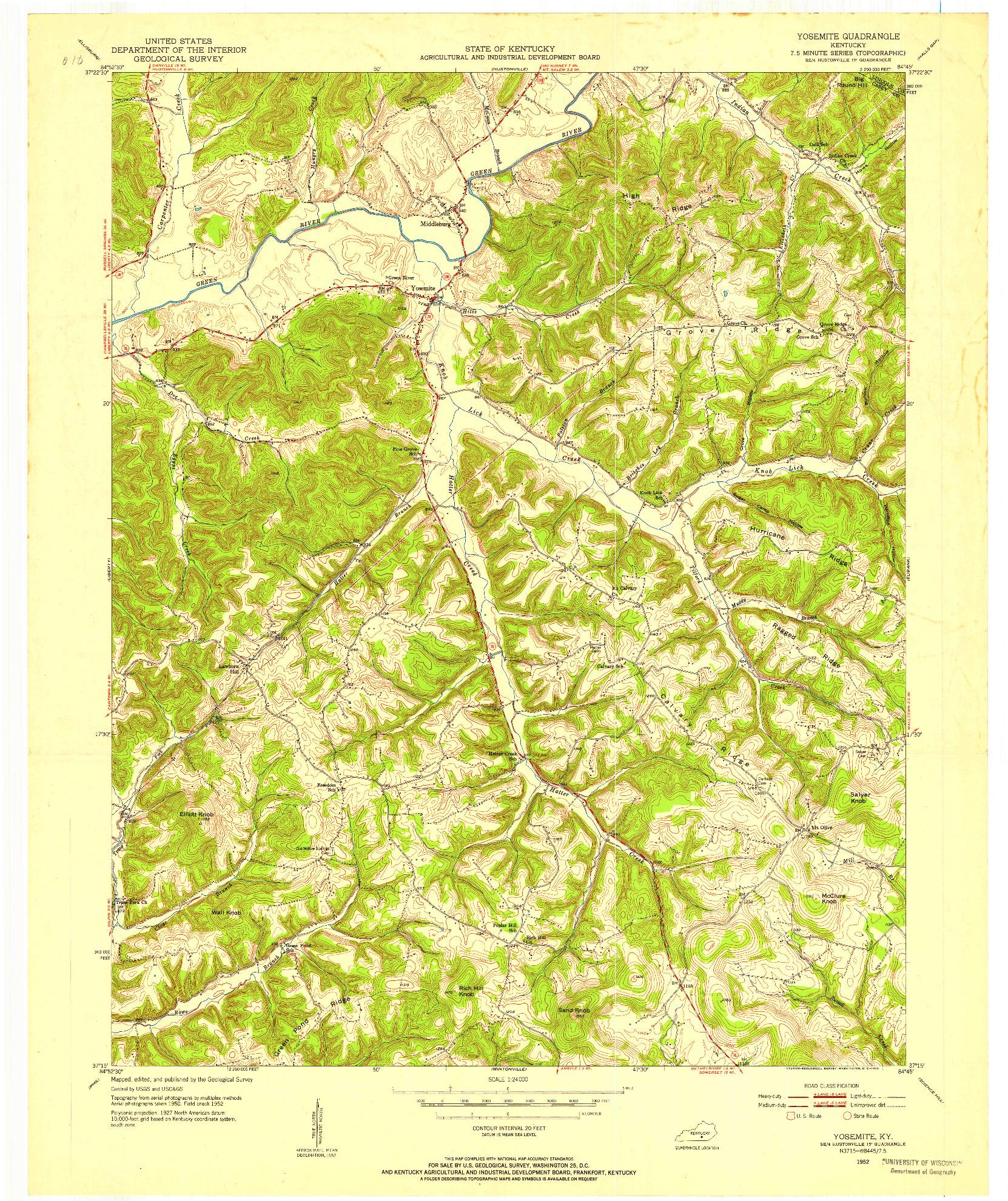 USGS 1:24000-SCALE QUADRANGLE FOR YOSEMITE, KY 1952