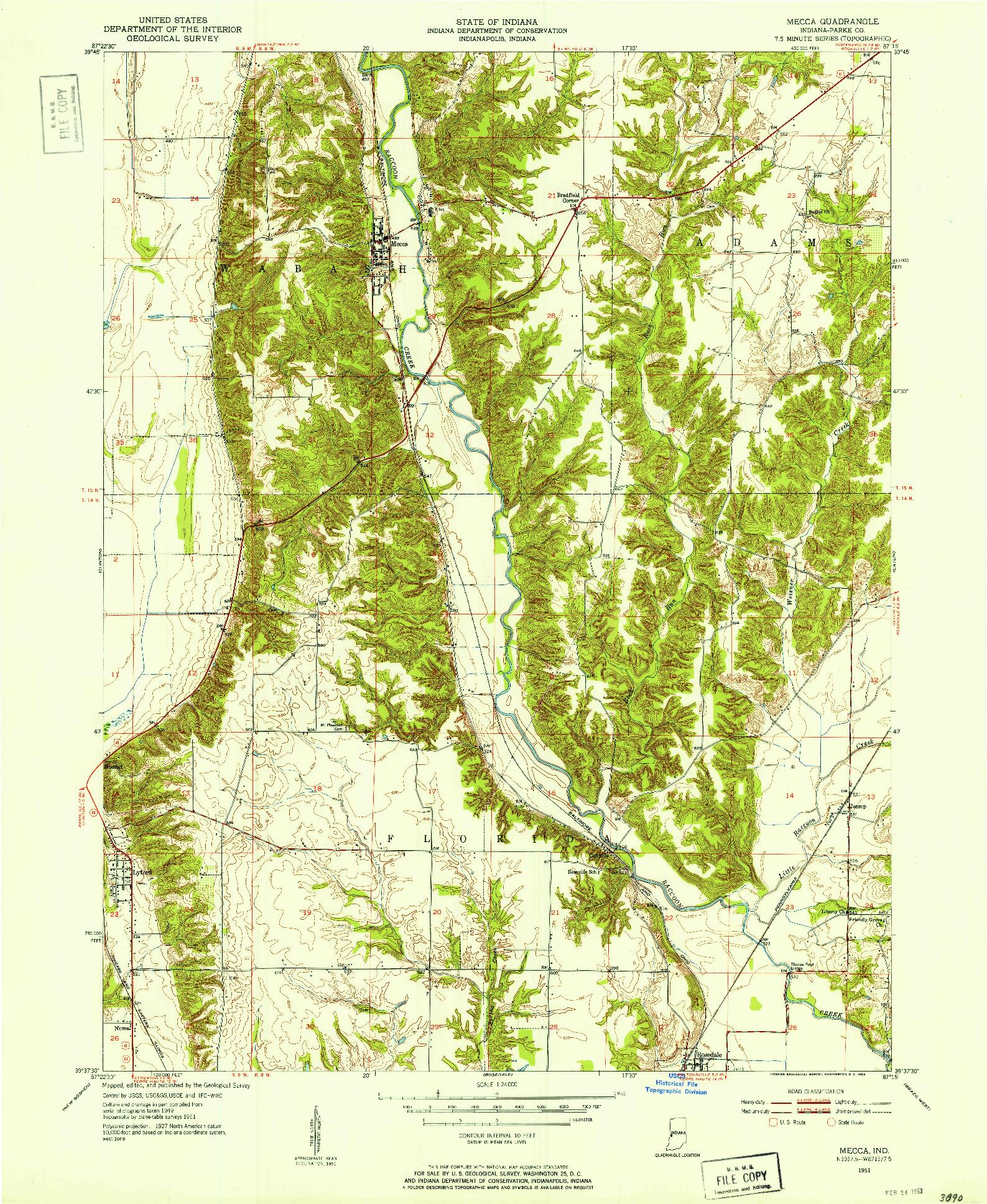 USGS 1:24000-SCALE QUADRANGLE FOR MECCA, IN 1951