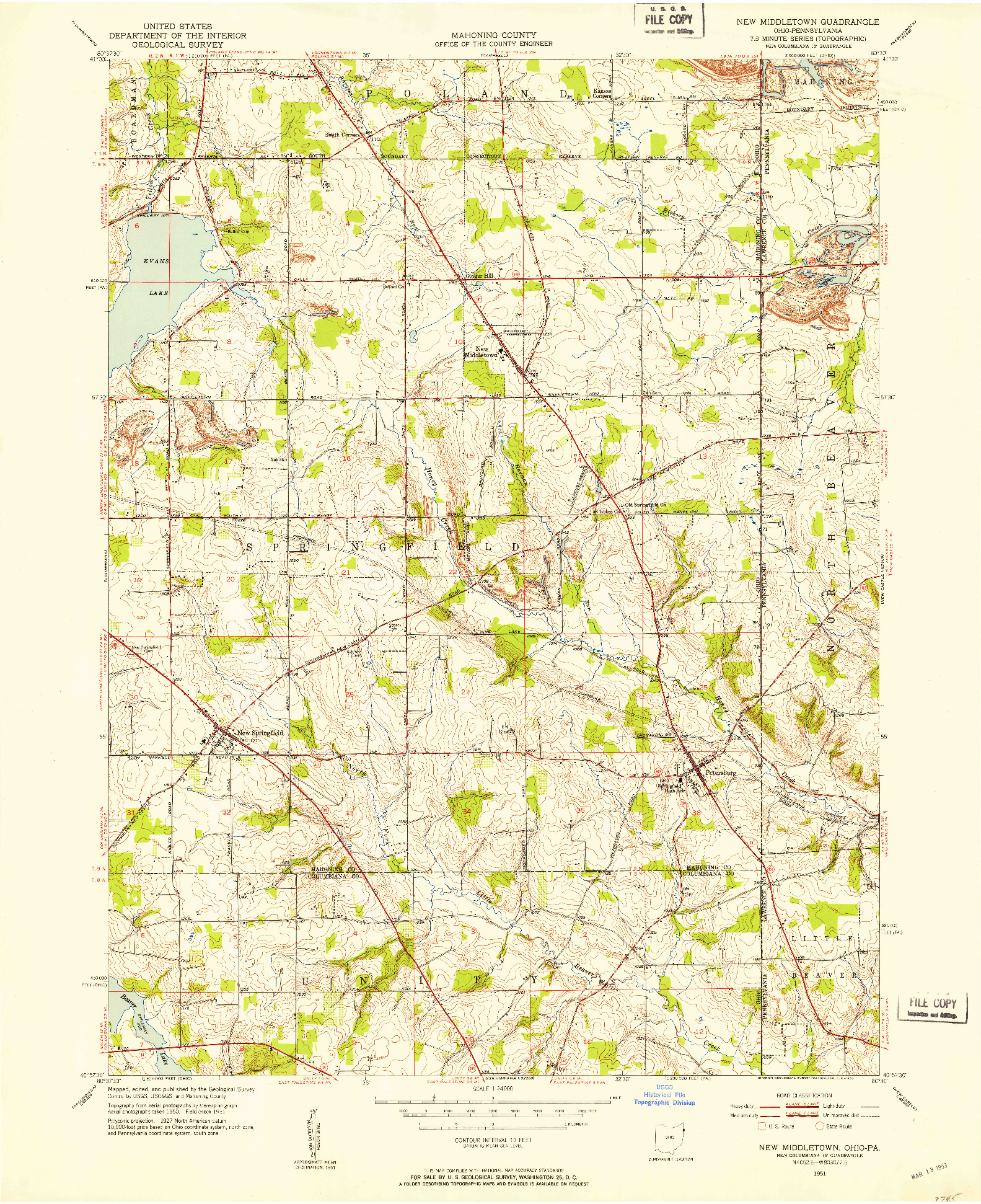 USGS 1:24000-SCALE QUADRANGLE FOR NEW MIDDLETOWN, OH 1951