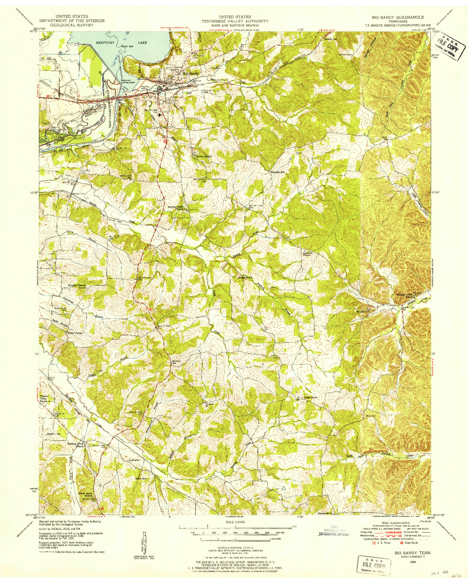 USGS 1:24000-SCALE QUADRANGLE FOR BIG SANDY, TN 1950