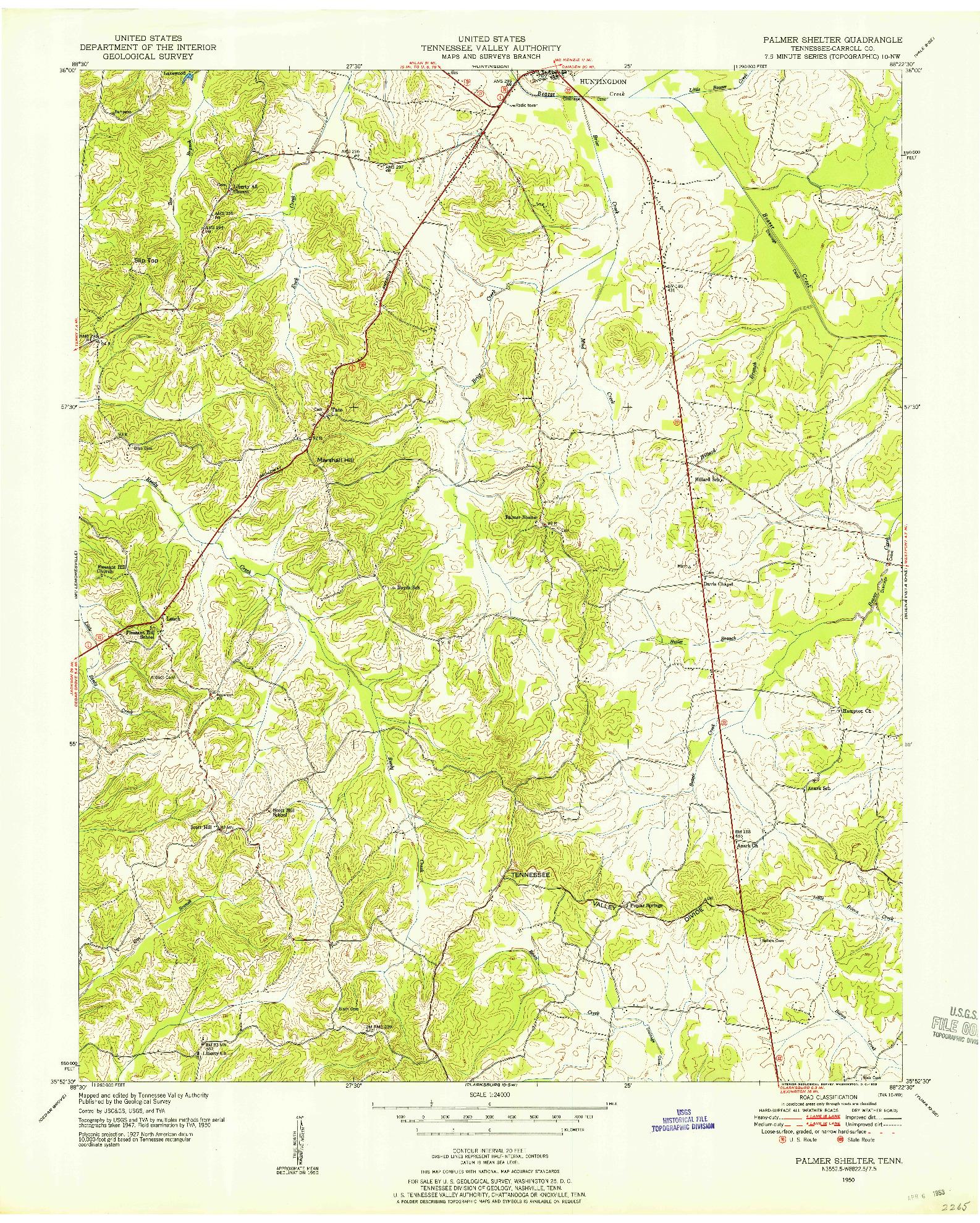 USGS 1:24000-SCALE QUADRANGLE FOR PALMER SHELTER, TN 1950