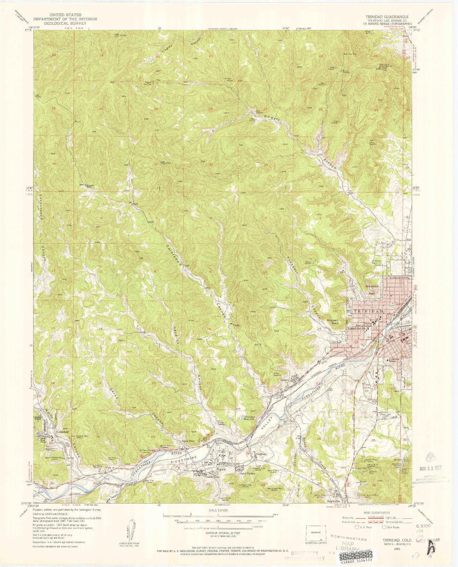 USGS 1:24000-SCALE QUADRANGLE FOR TRINIDAD, CO 1951