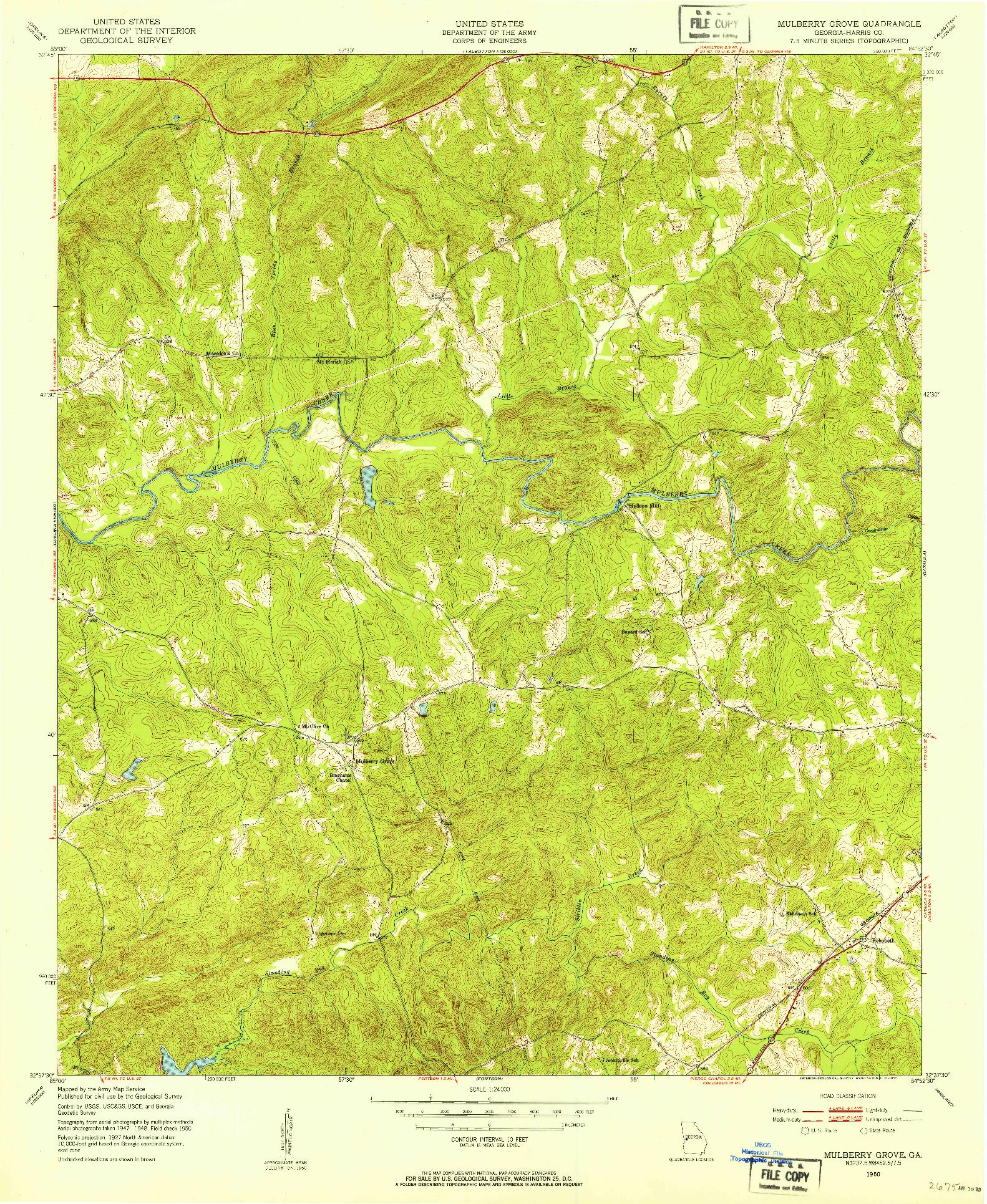 USGS 1:24000-SCALE QUADRANGLE FOR MULBERRY GROVE, GA 1950