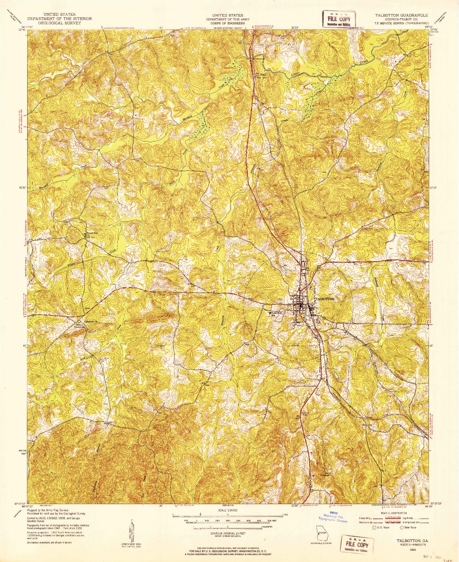 USGS 1:24000-SCALE QUADRANGLE FOR TALBOTTON, GA 1950