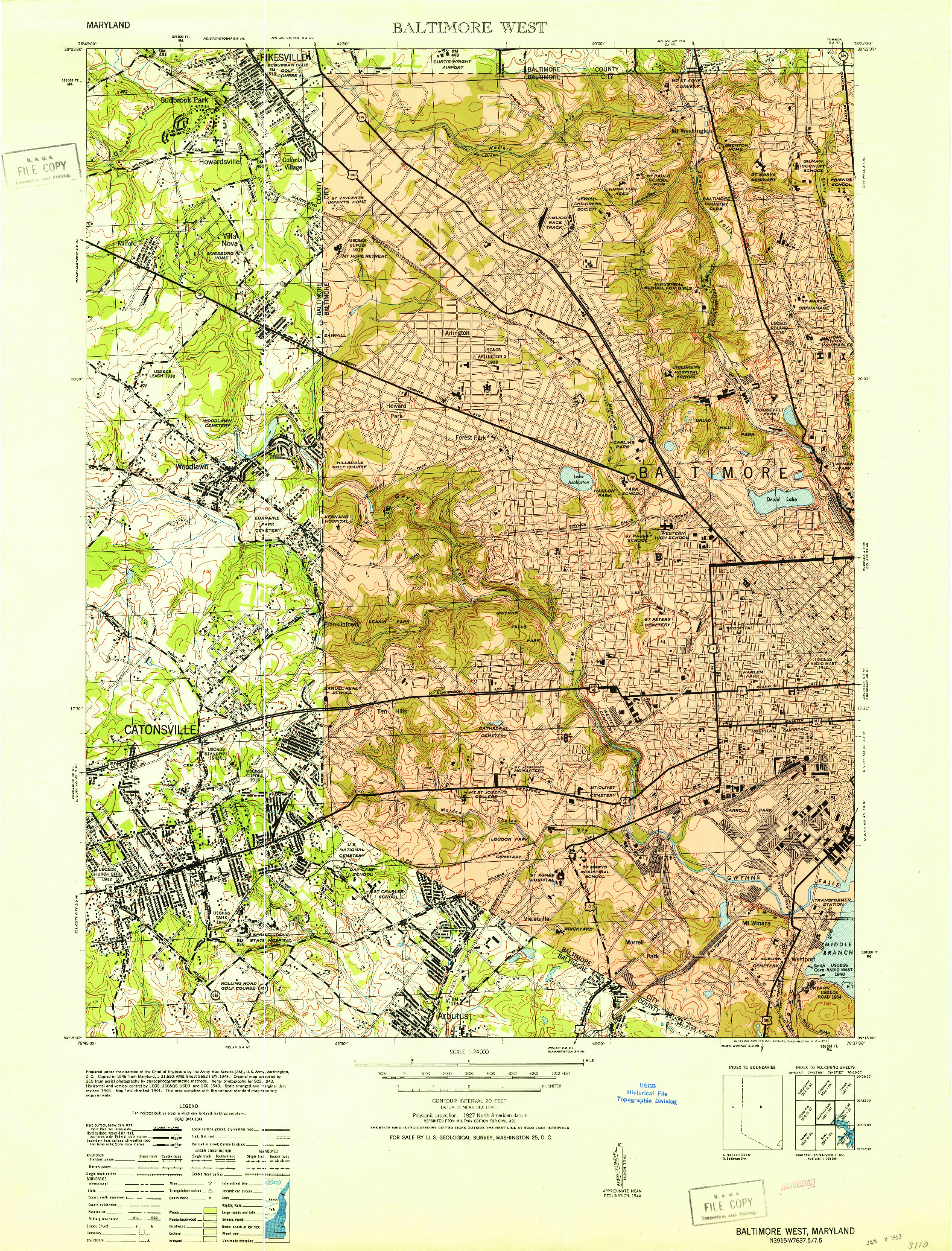 USGS 1:24000-SCALE QUADRANGLE FOR BALTIMORE WEST, MD 1953