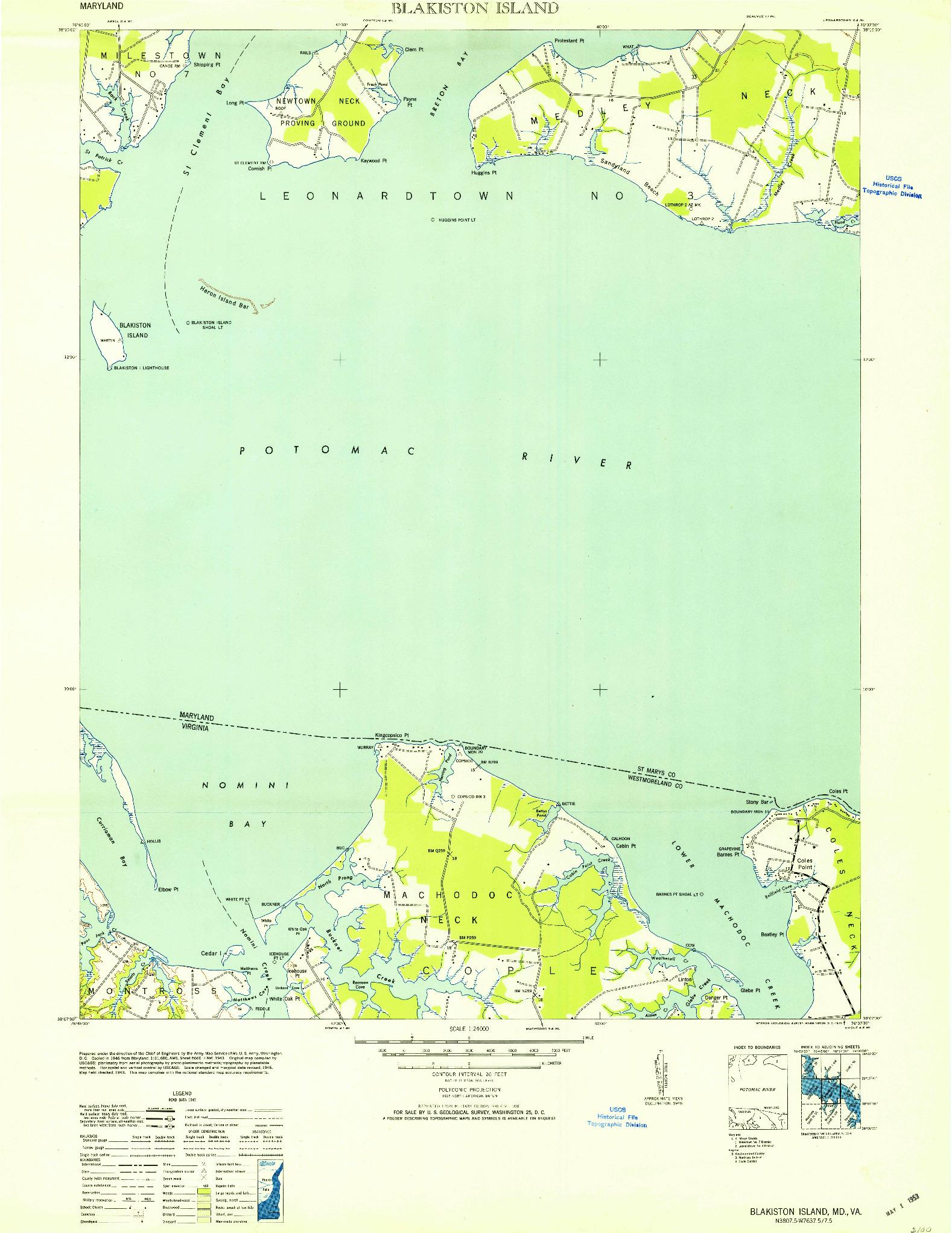 USGS 1:24000-SCALE QUADRANGLE FOR BLAKISTON ISLAND, MD 1953