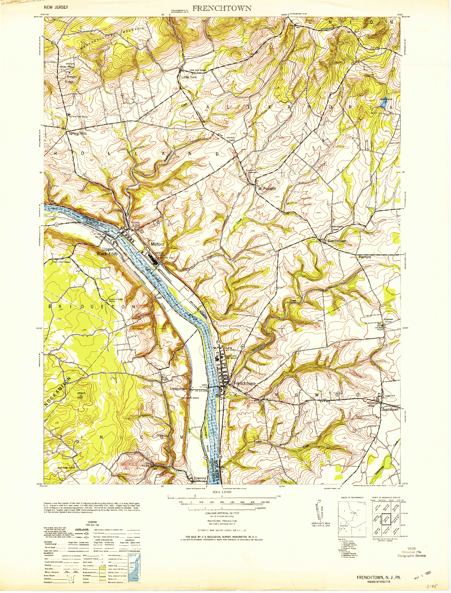USGS 1:24000-SCALE QUADRANGLE FOR FRENCHTOWN, NJ 1953