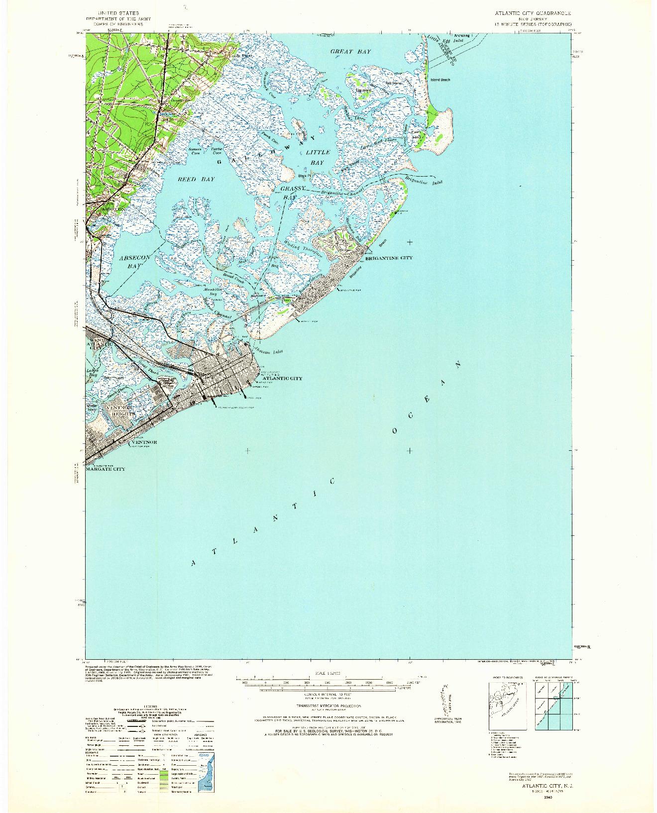USGS 1:62500-SCALE QUADRANGLE FOR ATLANTIC CITY, NJ 1940