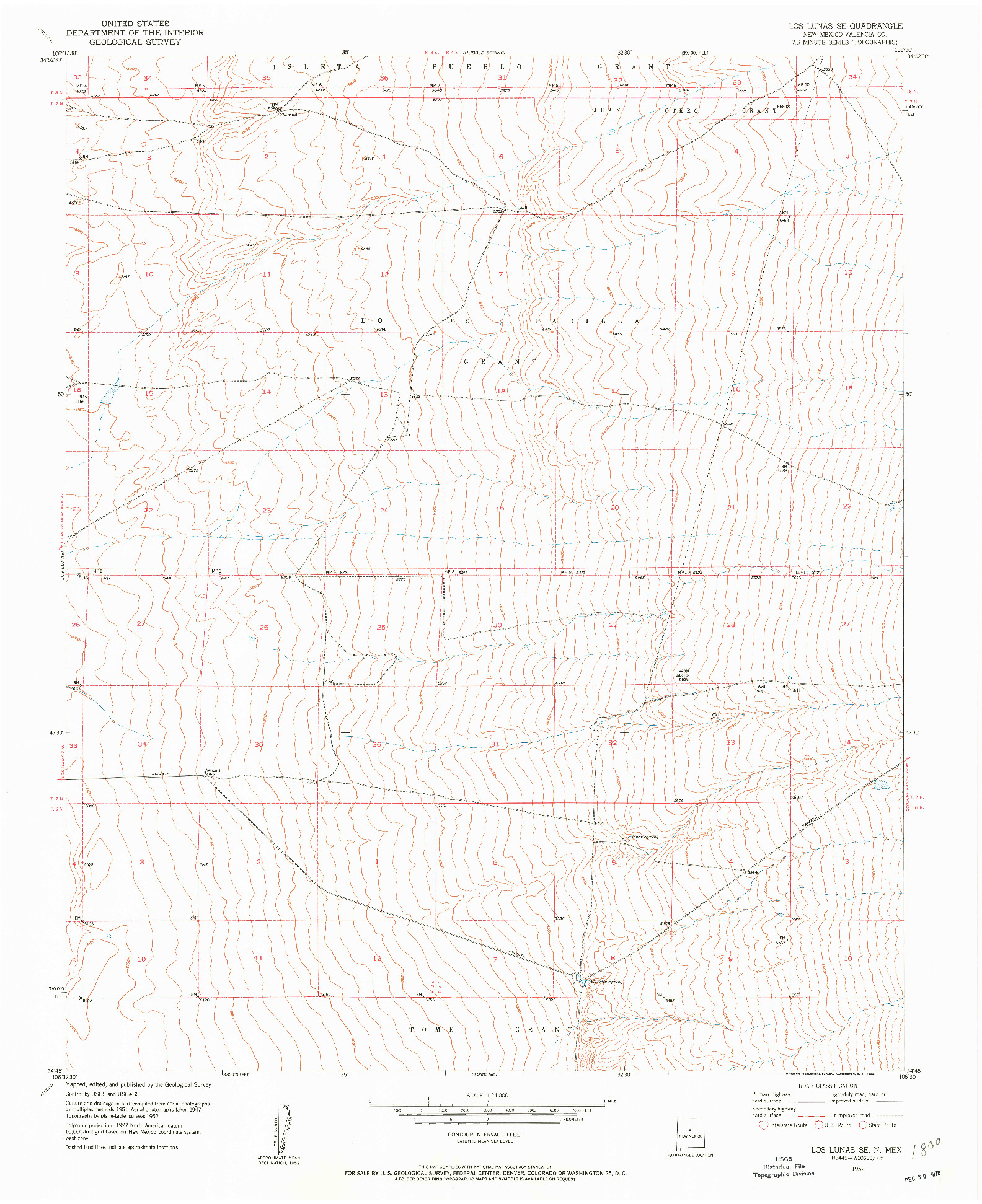 USGS 1:24000-SCALE QUADRANGLE FOR LOS LUNAS SE, NM 1952