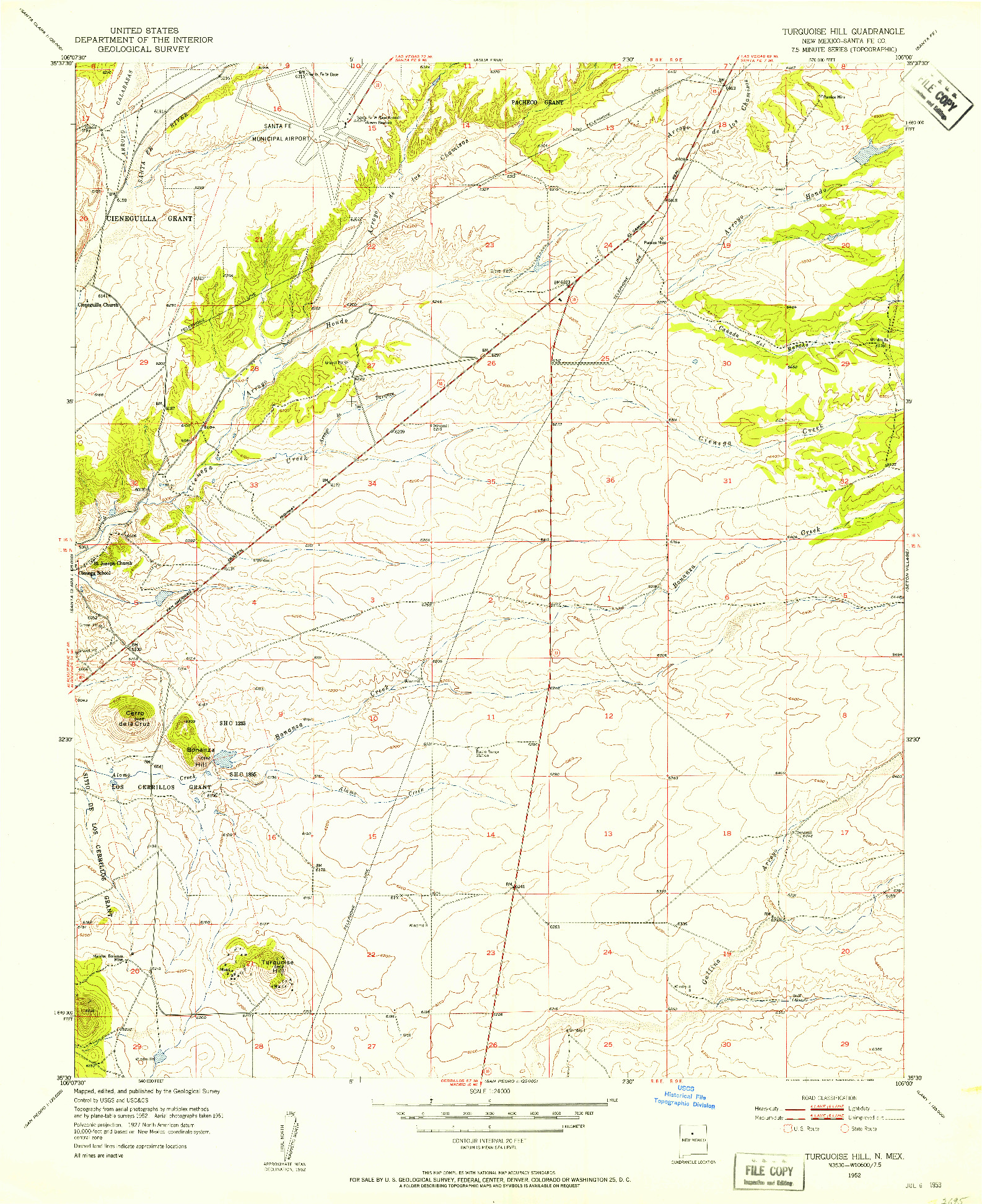 USGS 1:24000-SCALE QUADRANGLE FOR TURQUOISE HILL, NM 1952