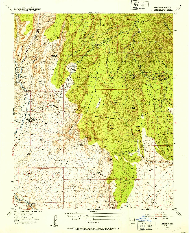 USGS 1:62500-SCALE QUADRANGLE FOR JEMEZ, NM 1943