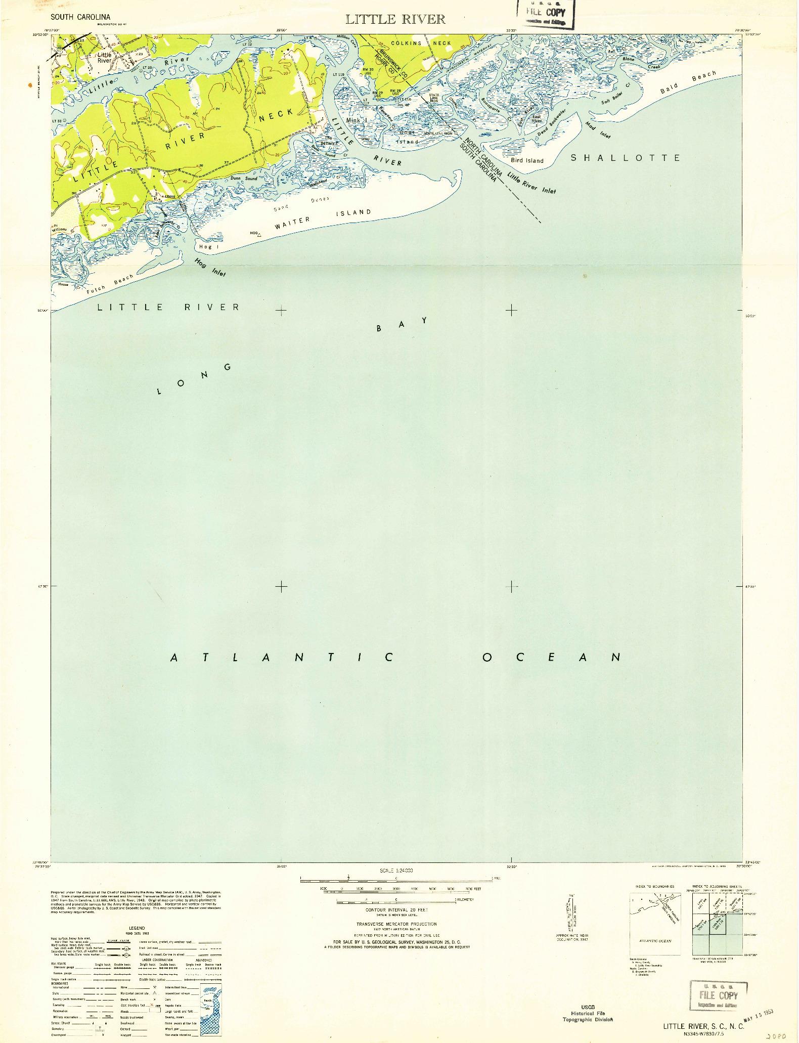 USGS 1:24000-SCALE QUADRANGLE FOR LITTLE RIVER, SC 1953