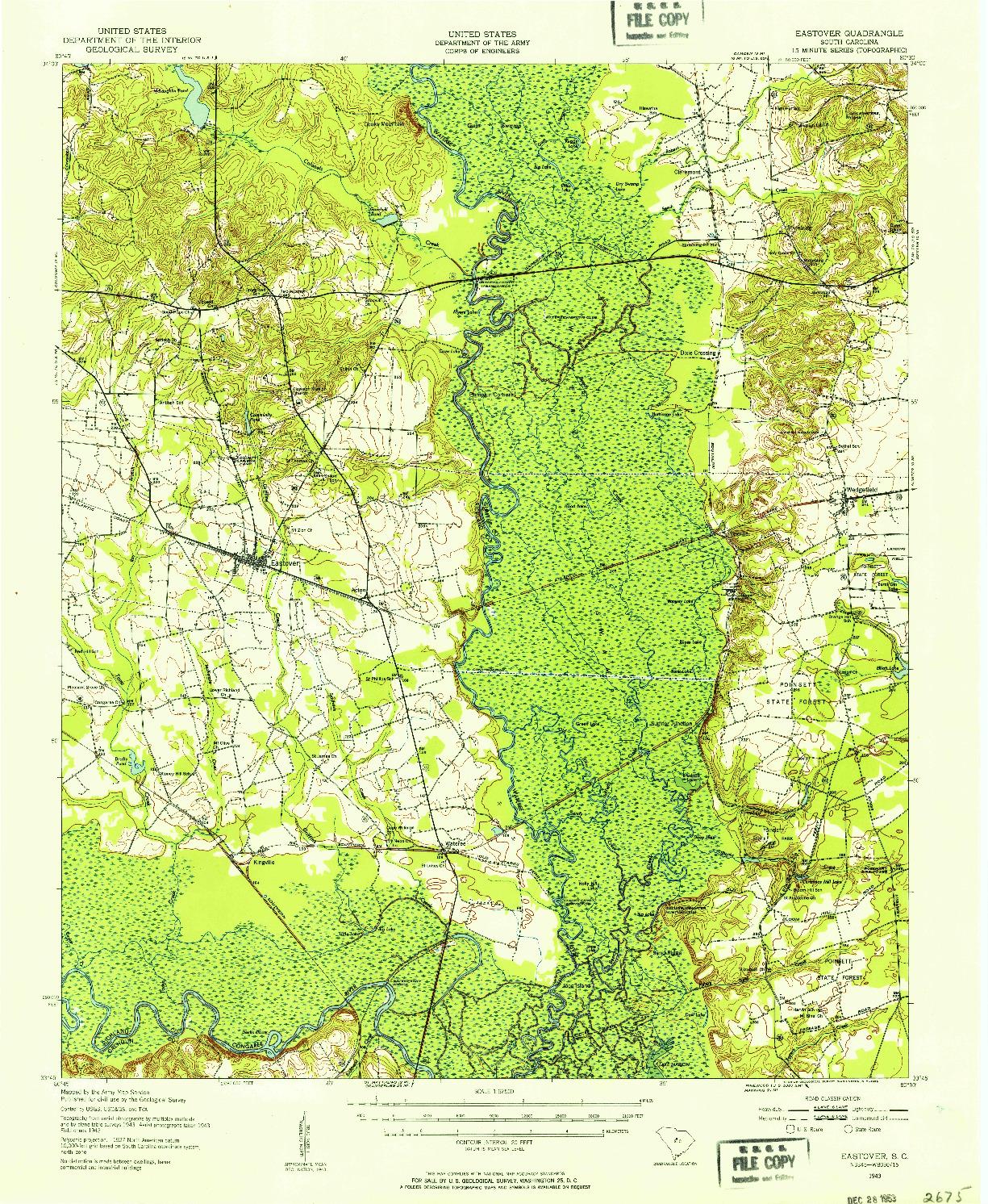 USGS 1:62500-SCALE QUADRANGLE FOR EASTOVER, SC 1943