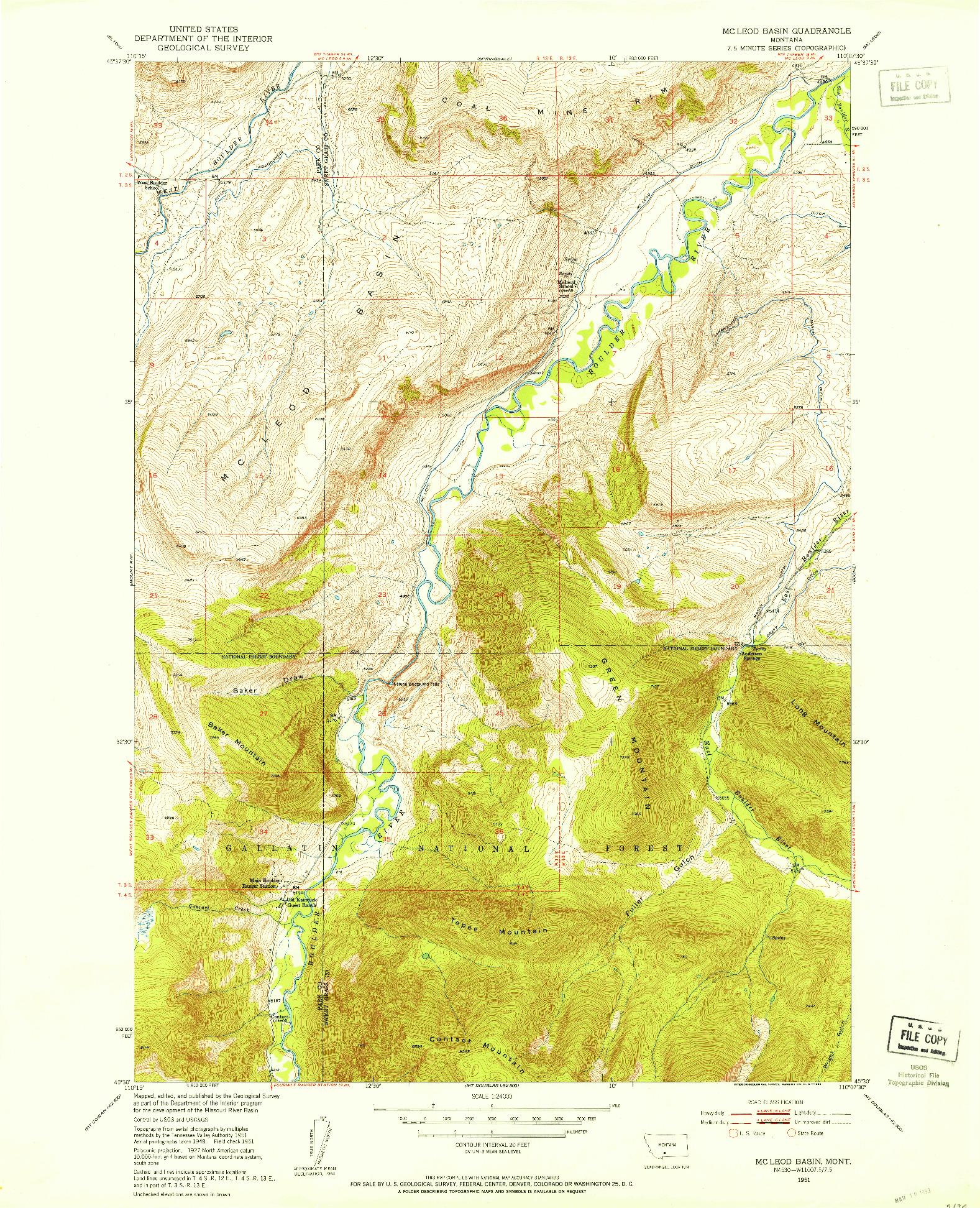 USGS 1:24000-SCALE QUADRANGLE FOR MC LEOD BASIN, MT 1951