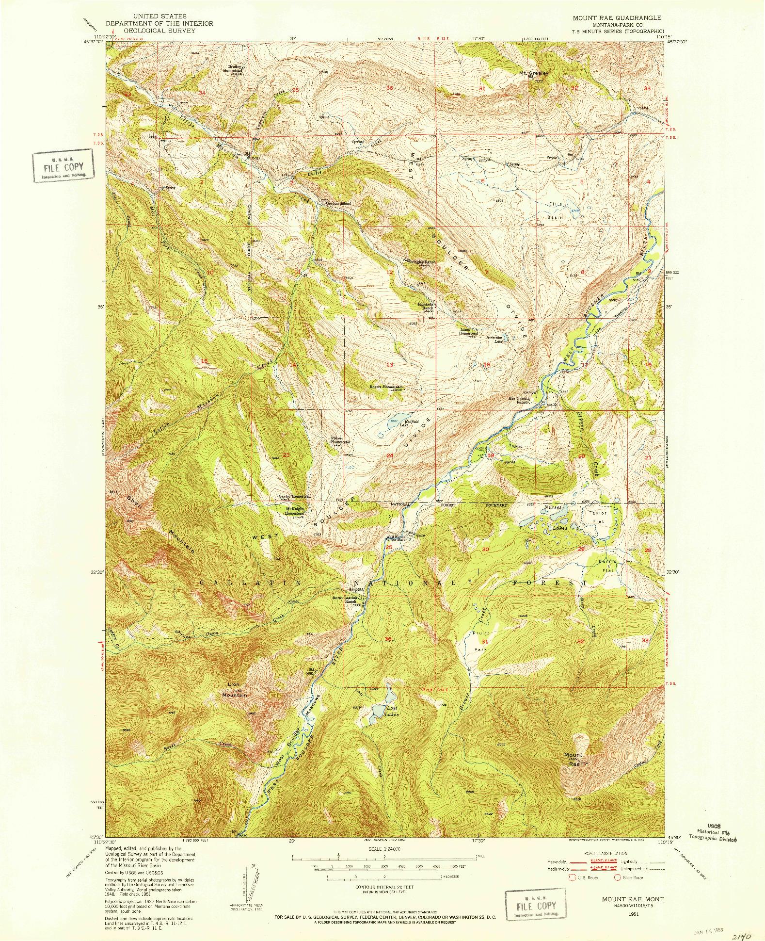USGS 1:24000-SCALE QUADRANGLE FOR MOUNT RAE, MT 1951
