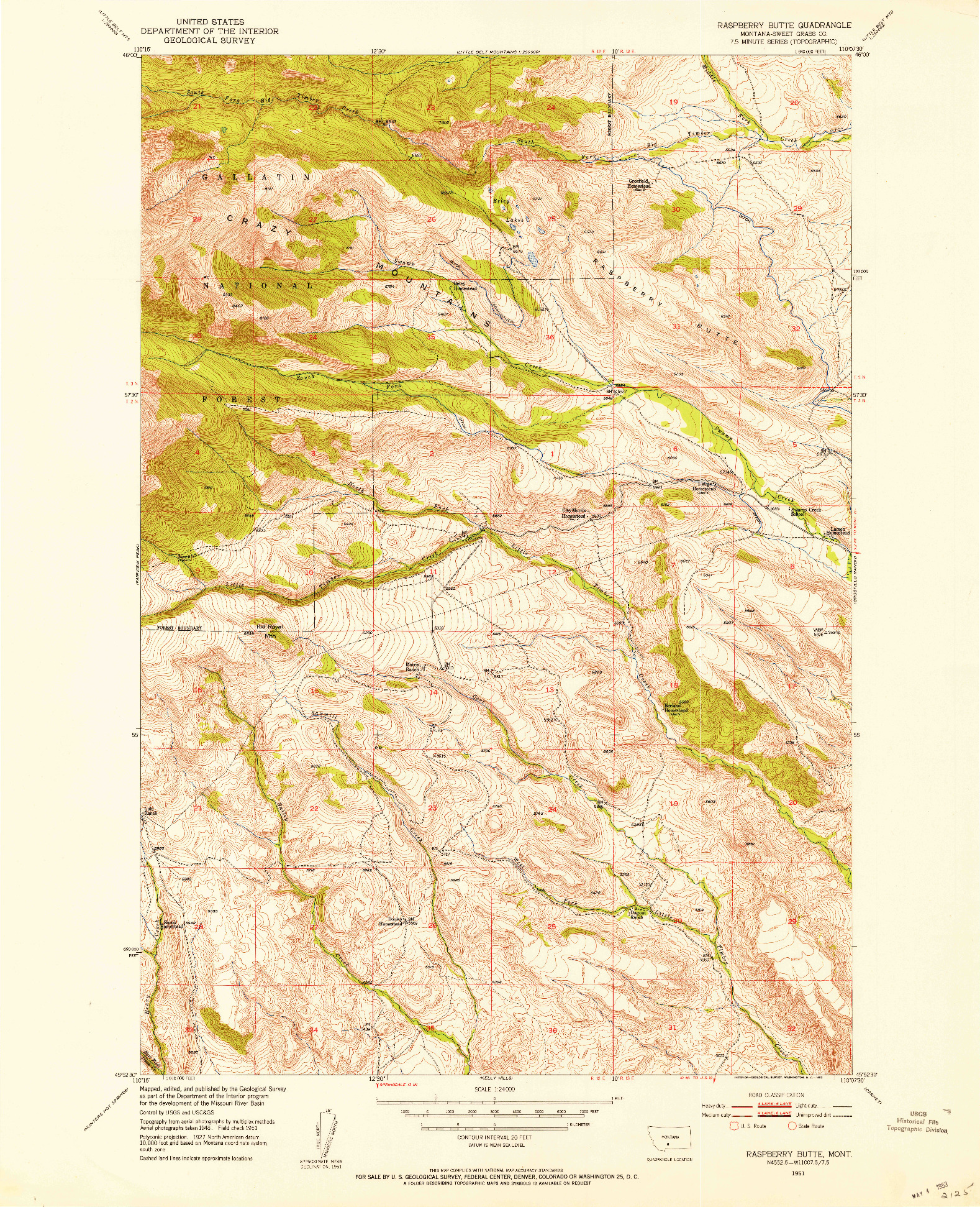 USGS 1:24000-SCALE QUADRANGLE FOR RASPBERRY BUTTE, MT 1951