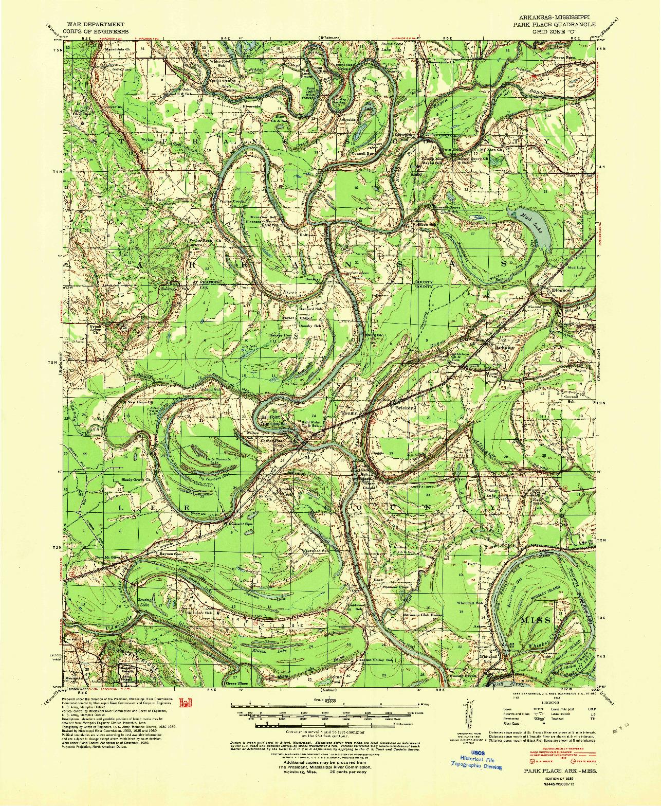 USGS 1:62500-SCALE QUADRANGLE FOR PARK PLACE, AR 1939