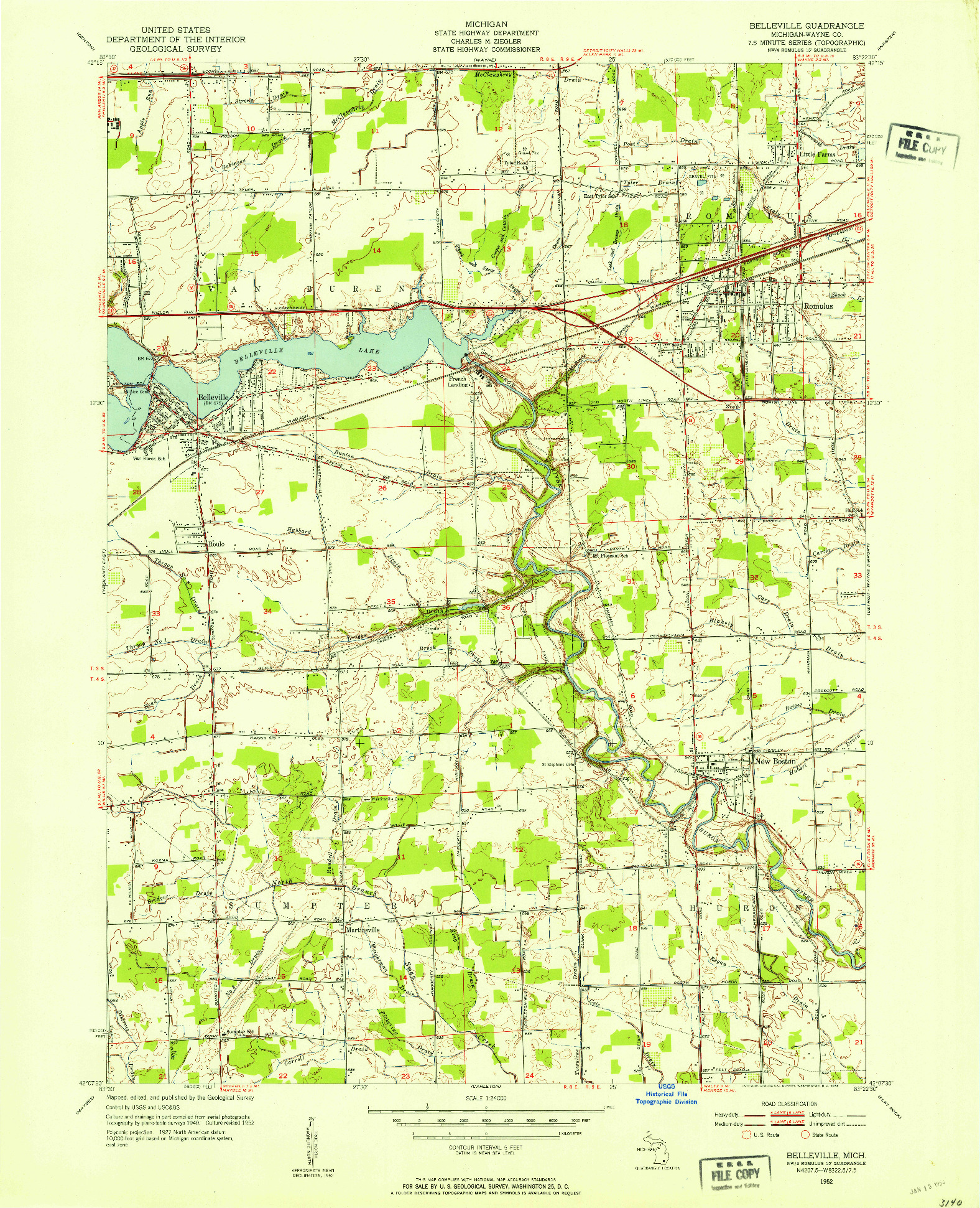 USGS 1:24000-SCALE QUADRANGLE FOR BELLEVILLE, MI 1952