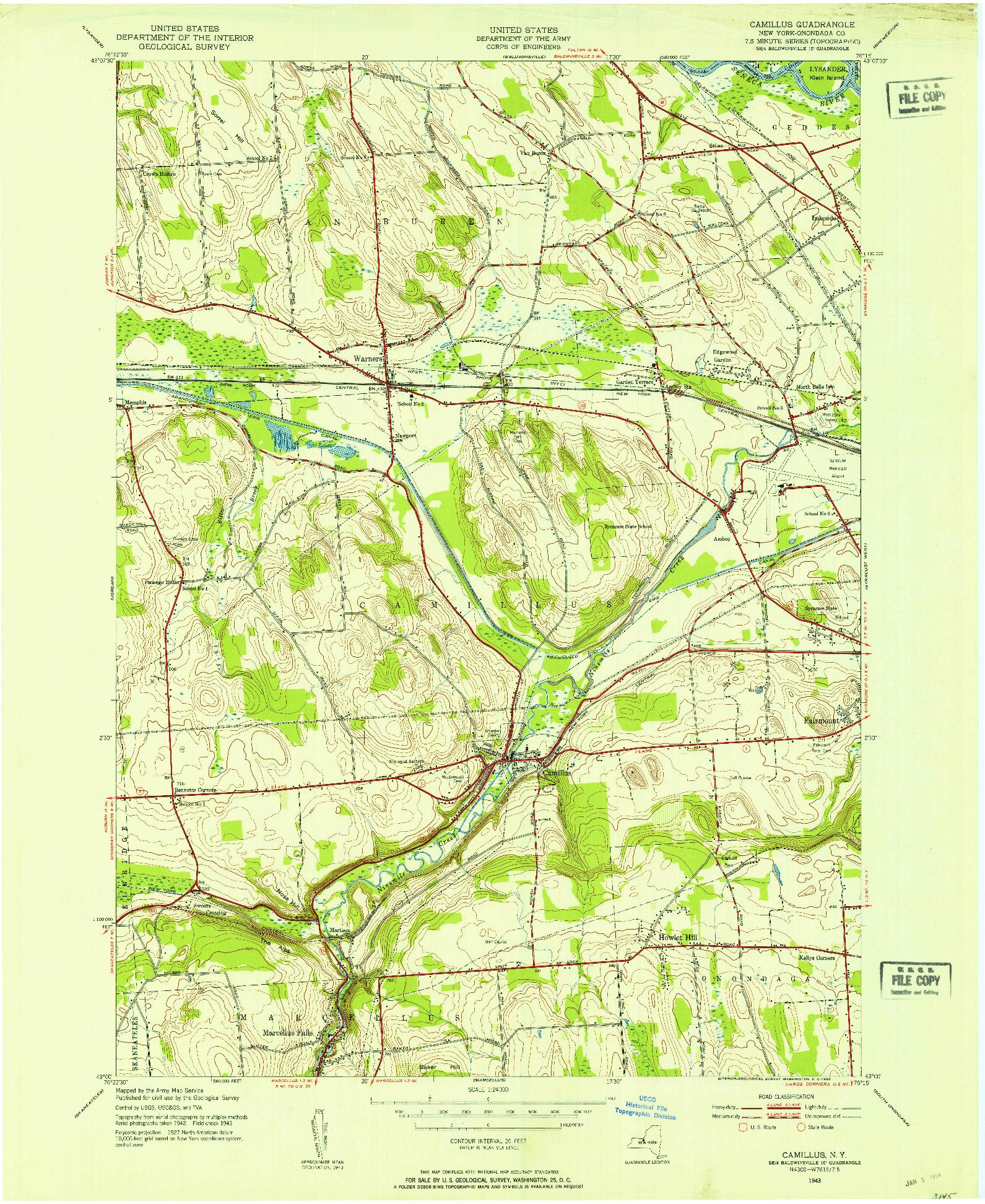 USGS 1:24000-SCALE QUADRANGLE FOR CAMILLUS, NY 1943