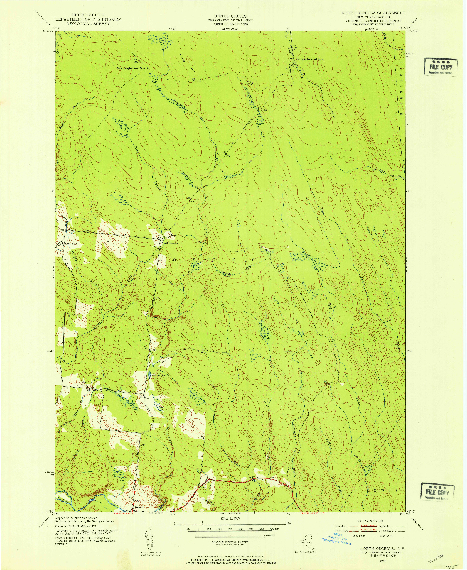 USGS 1:24000-SCALE QUADRANGLE FOR NORTH OSCEOLA, NY 1943