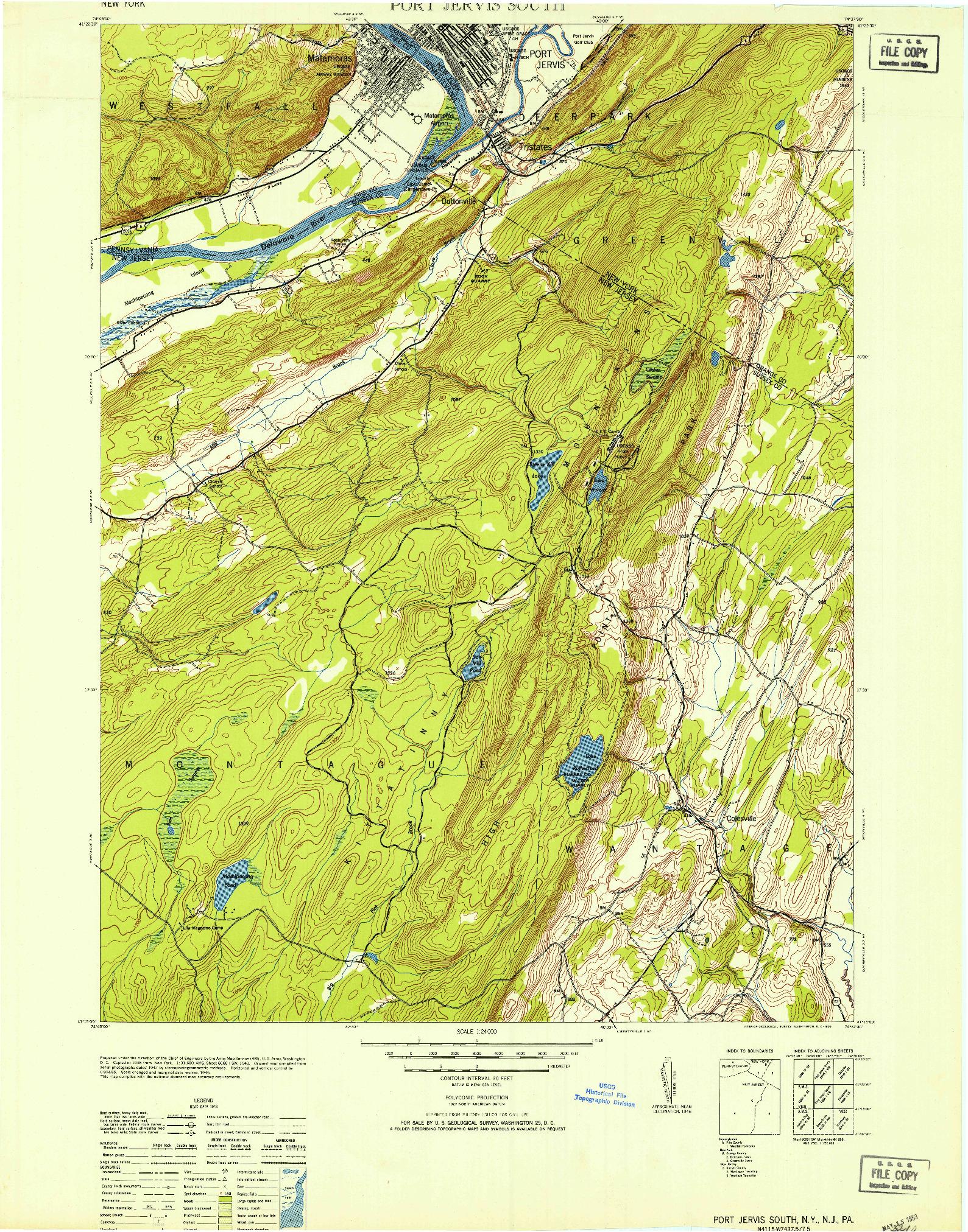 USGS 1:24000-SCALE QUADRANGLE FOR PORT JERVIS SOUTH, NY 1953
