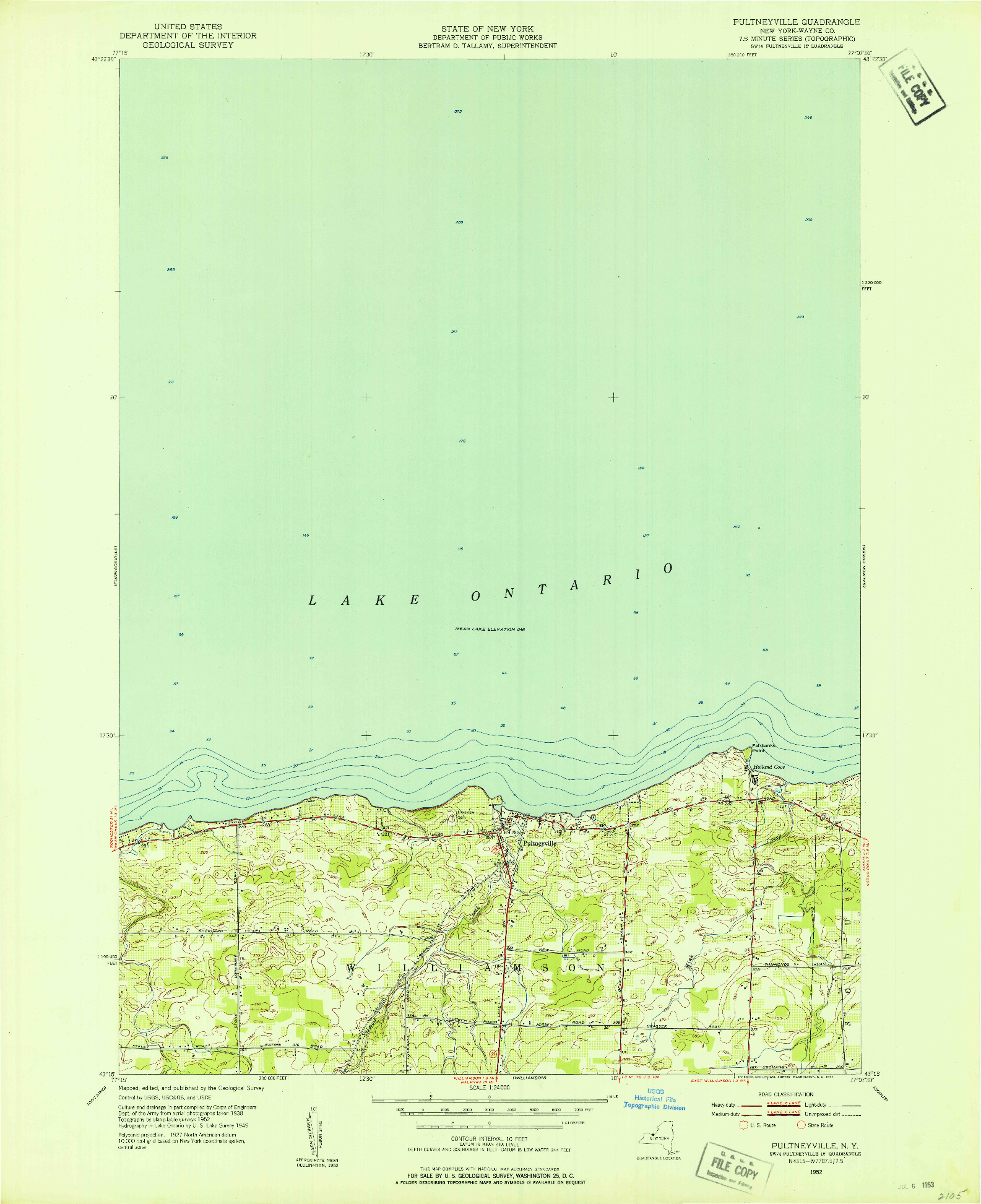 USGS 1:24000-SCALE QUADRANGLE FOR PULTNEYVILLE, NY 1952