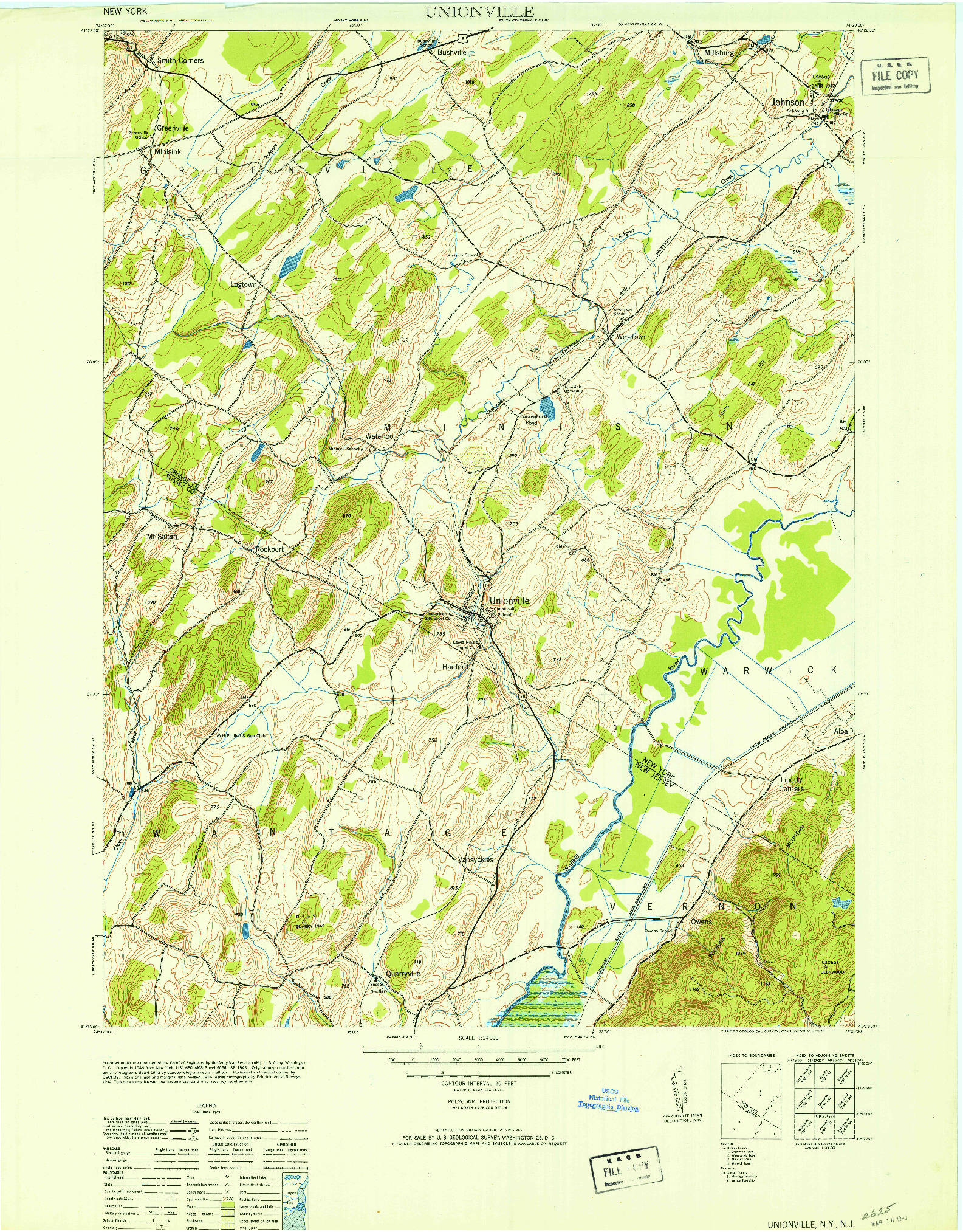USGS 1:24000-SCALE QUADRANGLE FOR UNIONVILLE, NY 1953