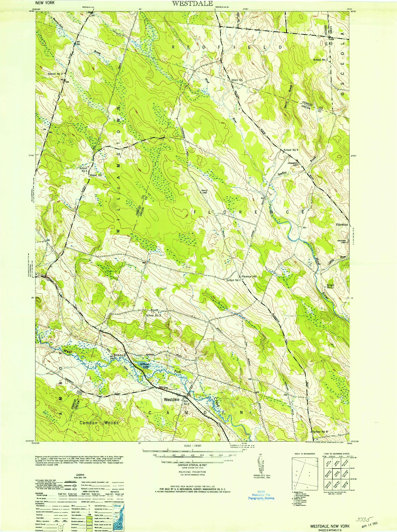 USGS 1:24000-SCALE QUADRANGLE FOR WESTDALE, NY 1946
