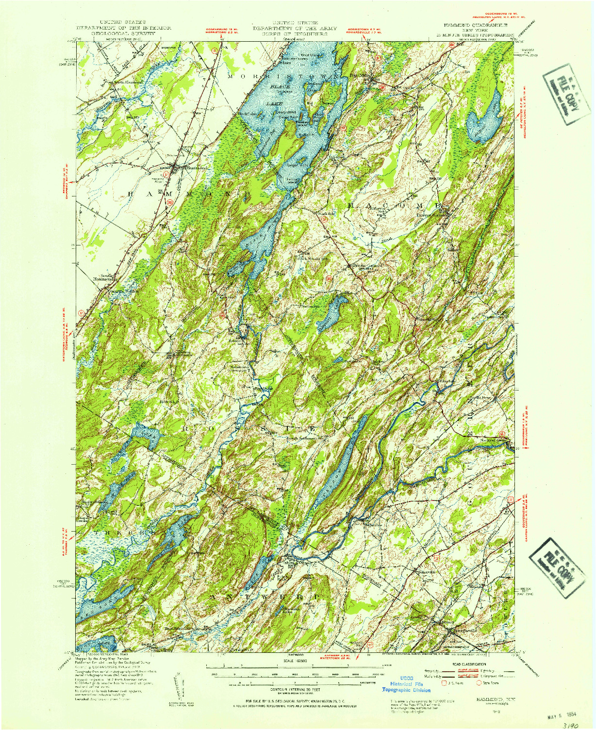 USGS 1:62500-SCALE QUADRANGLE FOR HAMMOND, NY 1949