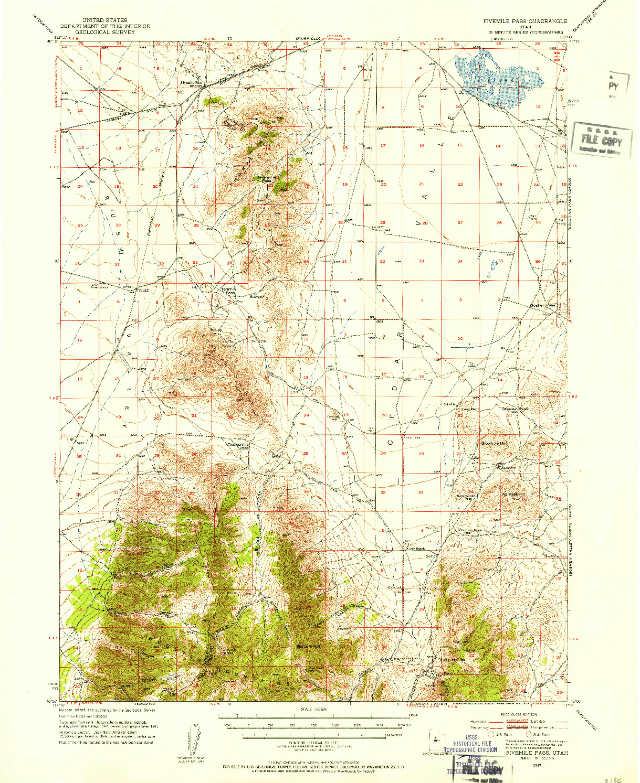 USGS 1:62500-SCALE QUADRANGLE FOR FIVEMILE PASS, UT 1947