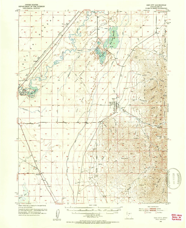 USGS 1:62500-SCALE QUADRANGLE FOR OAK CITY, UT 1951