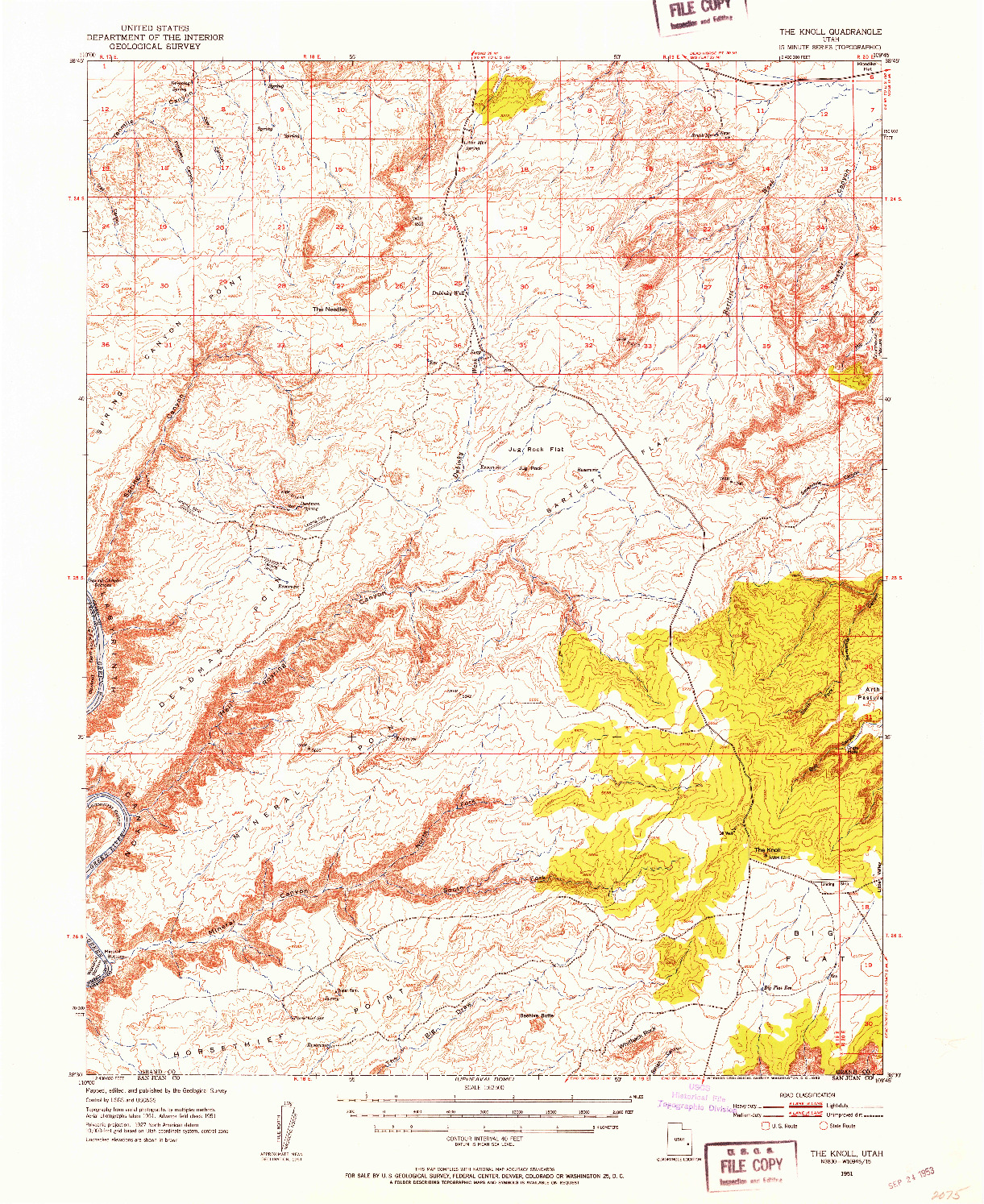 USGS 1:62500-SCALE QUADRANGLE FOR THE KNOLL, UT 1951