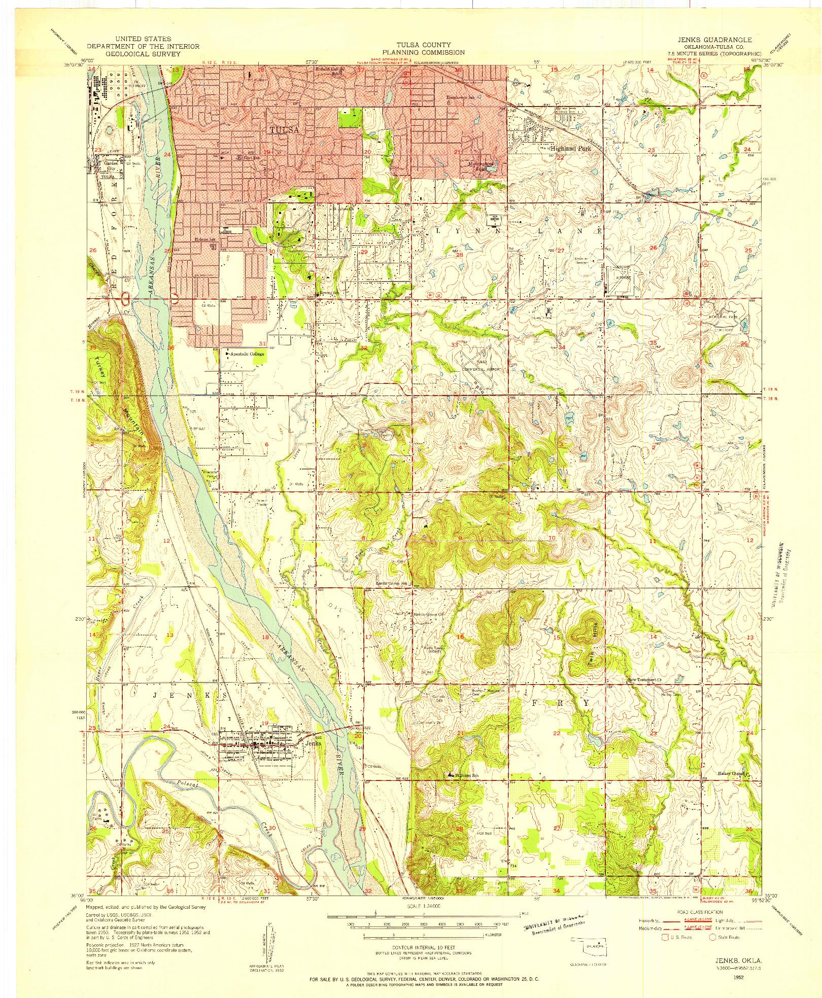 USGS 1:24000-SCALE QUADRANGLE FOR JENKS, OK 1952