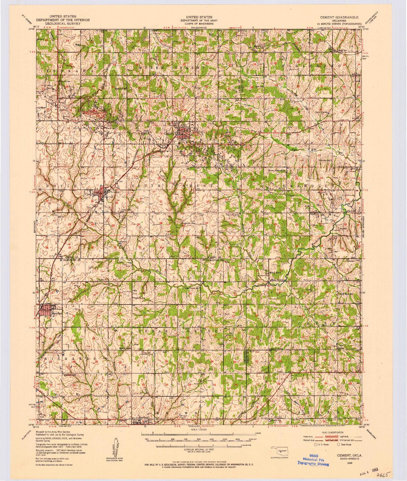 USGS 1:62500-SCALE QUADRANGLE FOR CEMENT, OK 1949