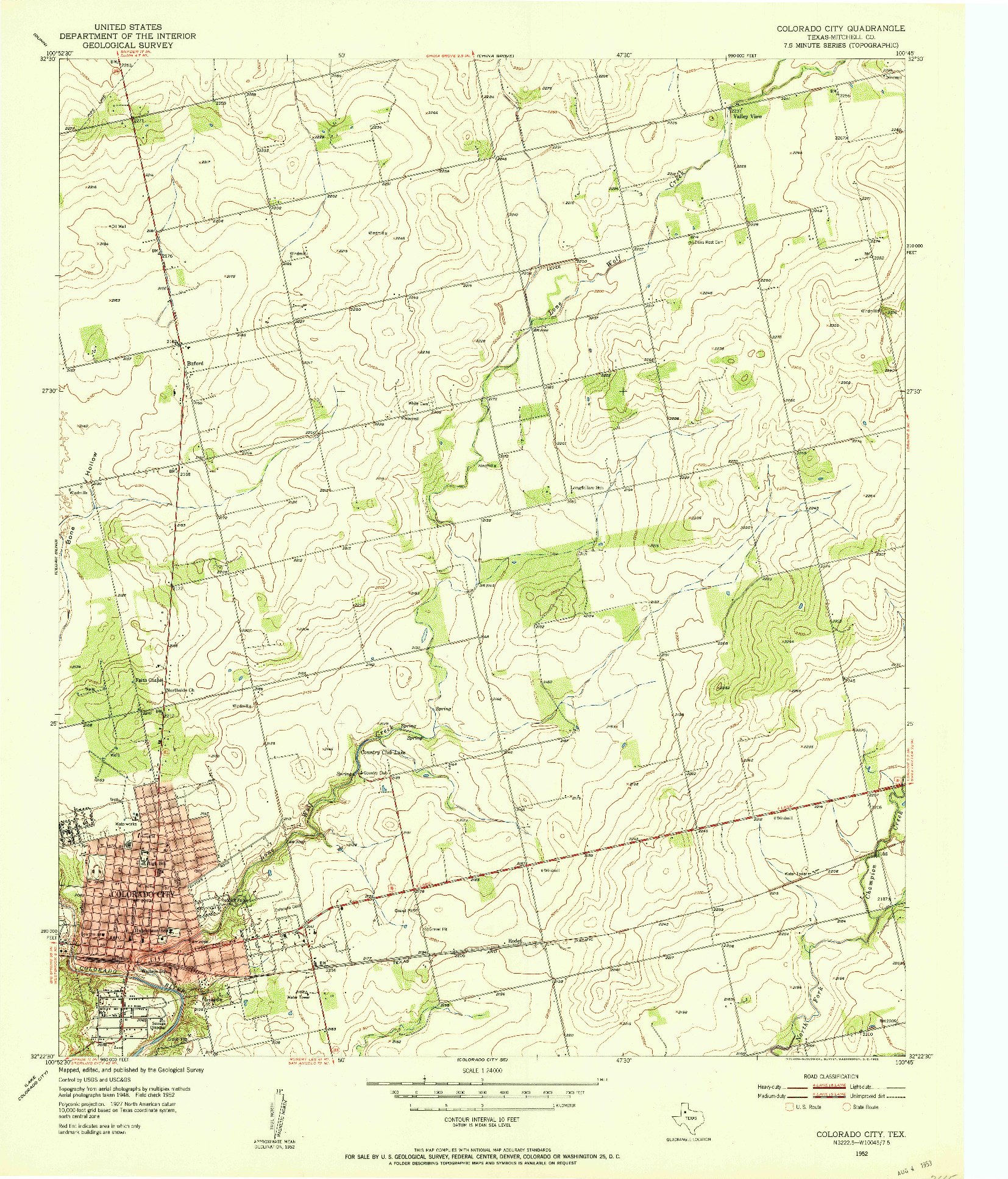 USGS 1:24000-SCALE QUADRANGLE FOR COLORADO CITY, TX 1952