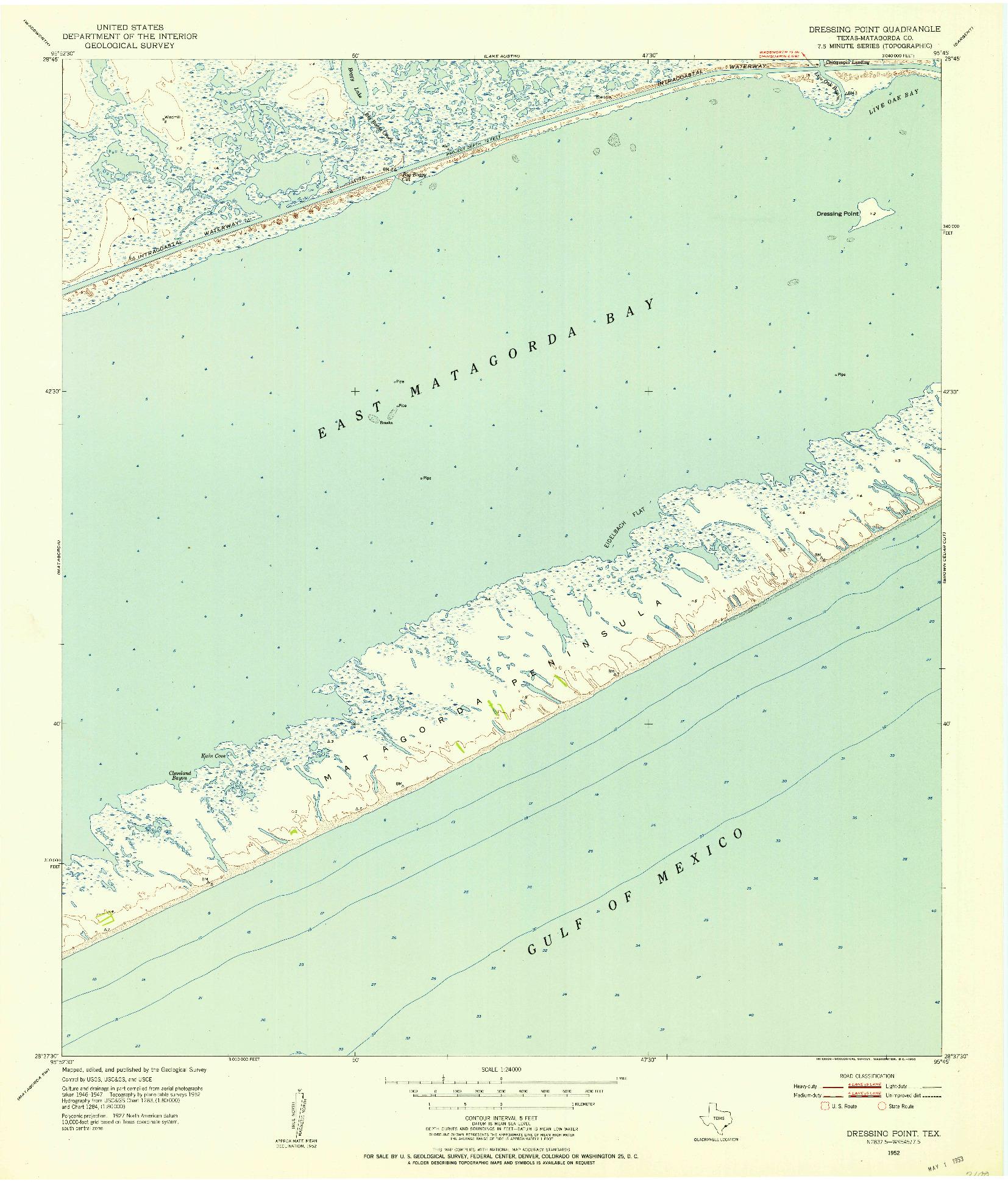 USGS 1:24000-SCALE QUADRANGLE FOR DRESSING POINT, TX 1952