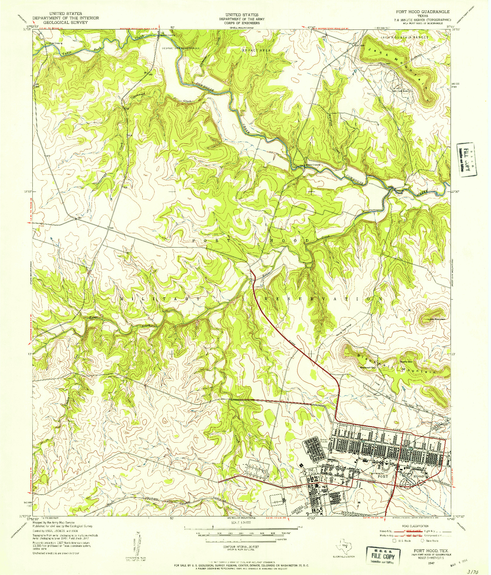 USGS 1:24000-SCALE QUADRANGLE FOR FORT HOOD, TX 1947