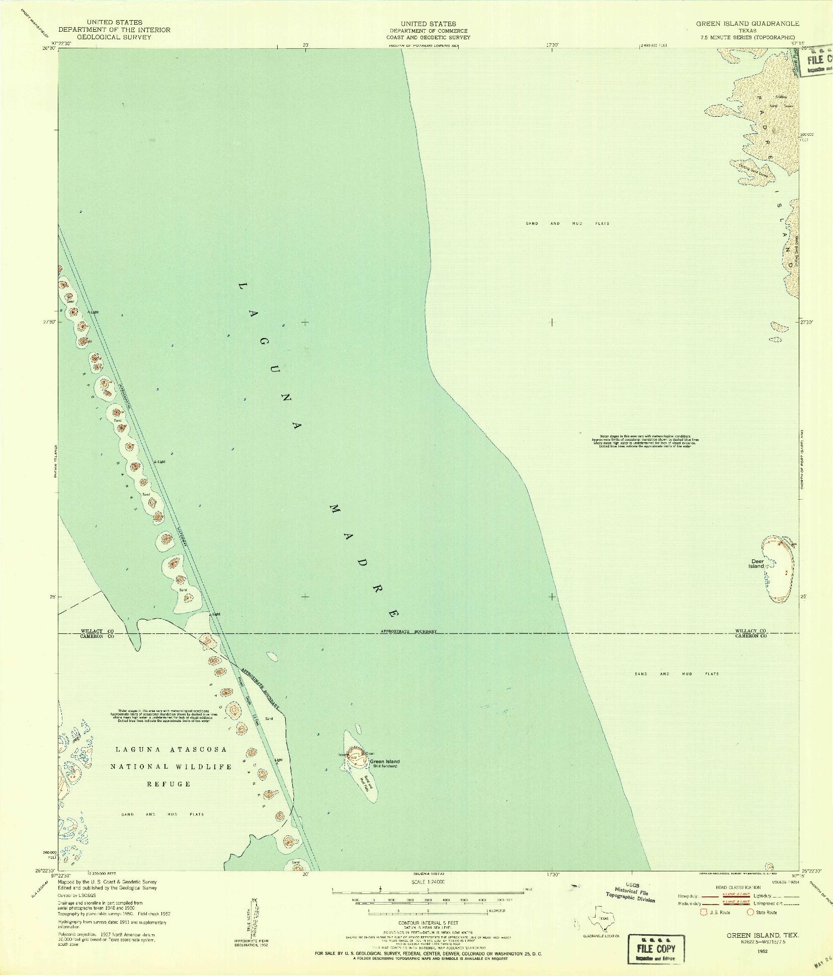 USGS 1:24000-SCALE QUADRANGLE FOR GREEN ISLAND, TX 1952