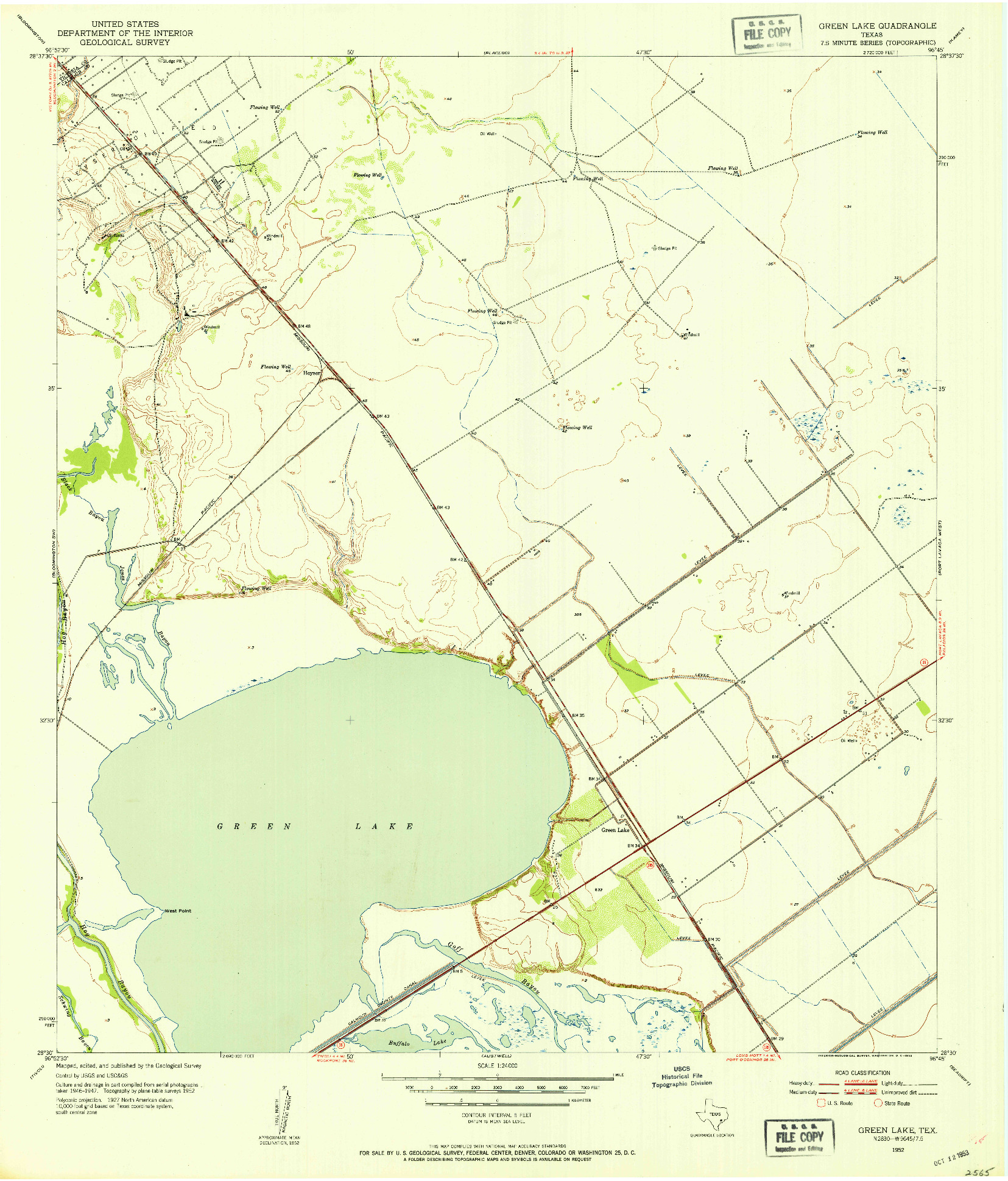 USGS 1:24000-SCALE QUADRANGLE FOR GREEN LAKE, TX 1952