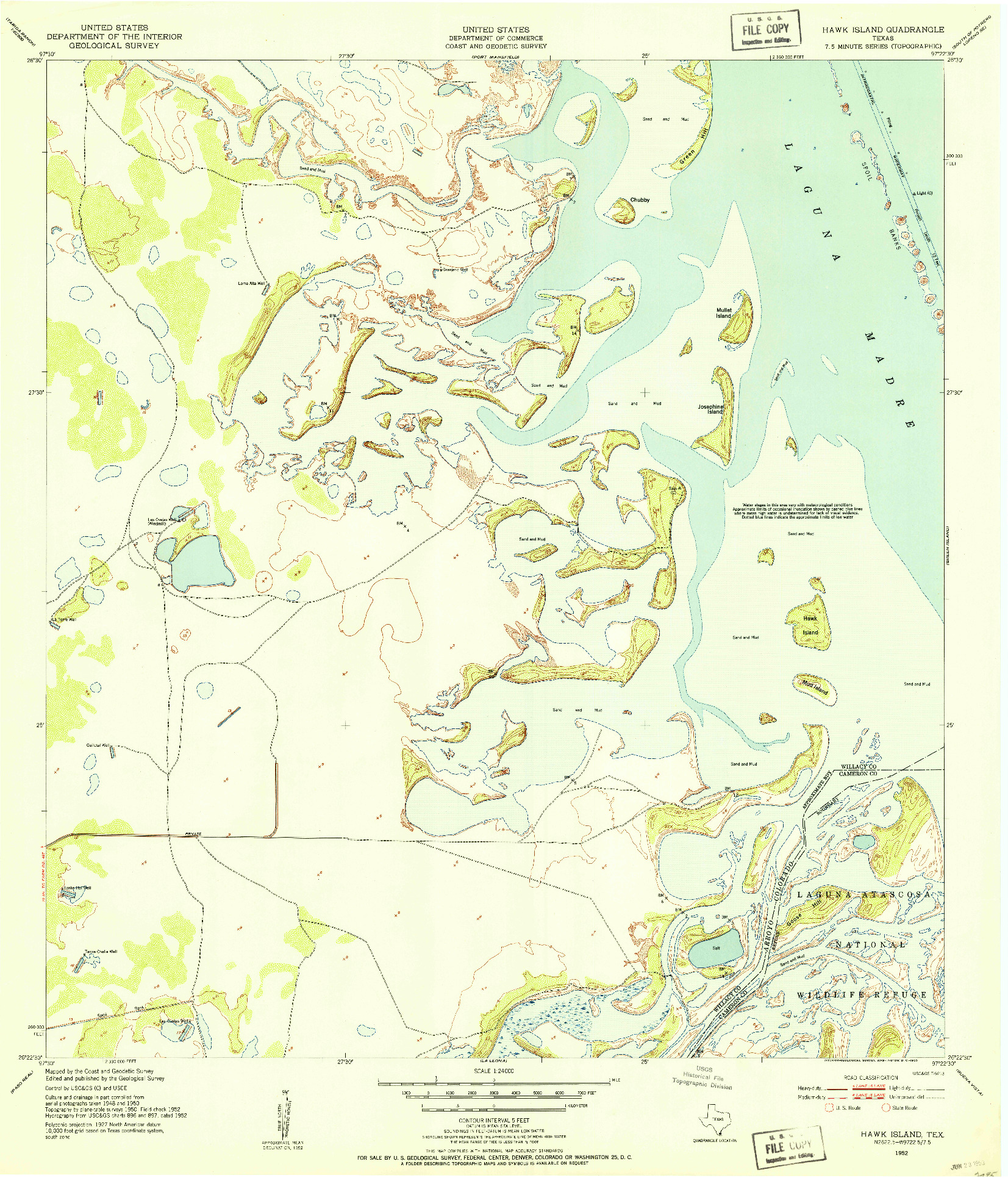 USGS 1:24000-SCALE QUADRANGLE FOR HAWK ISLAND, TX 1952