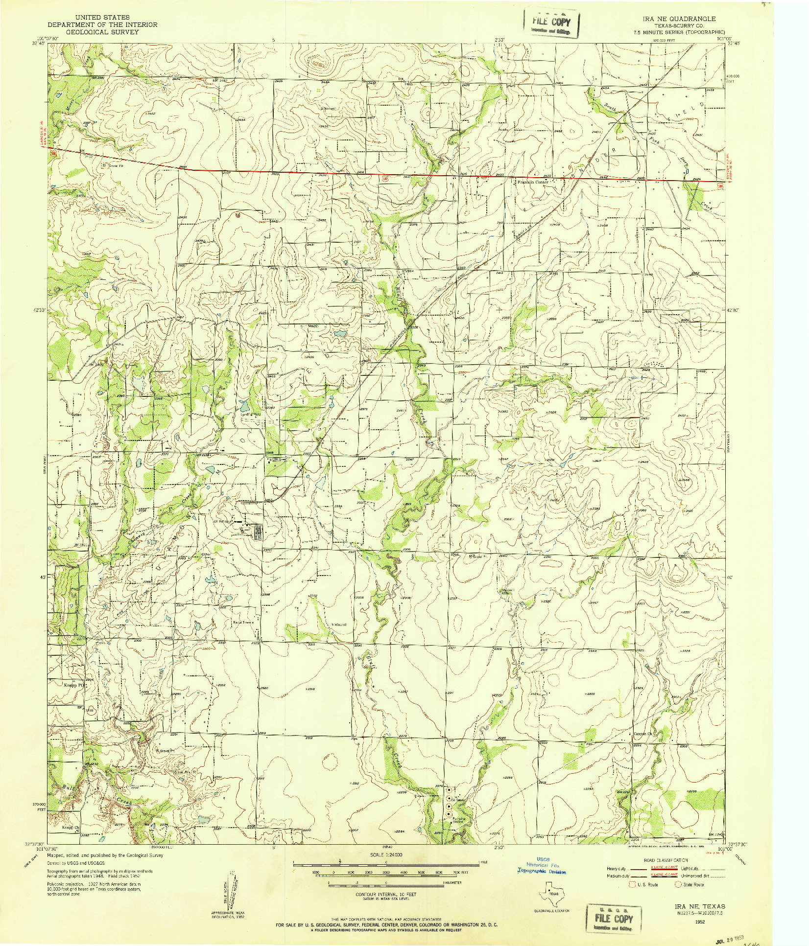 USGS 1:24000-SCALE QUADRANGLE FOR IRA NE, TX 1952