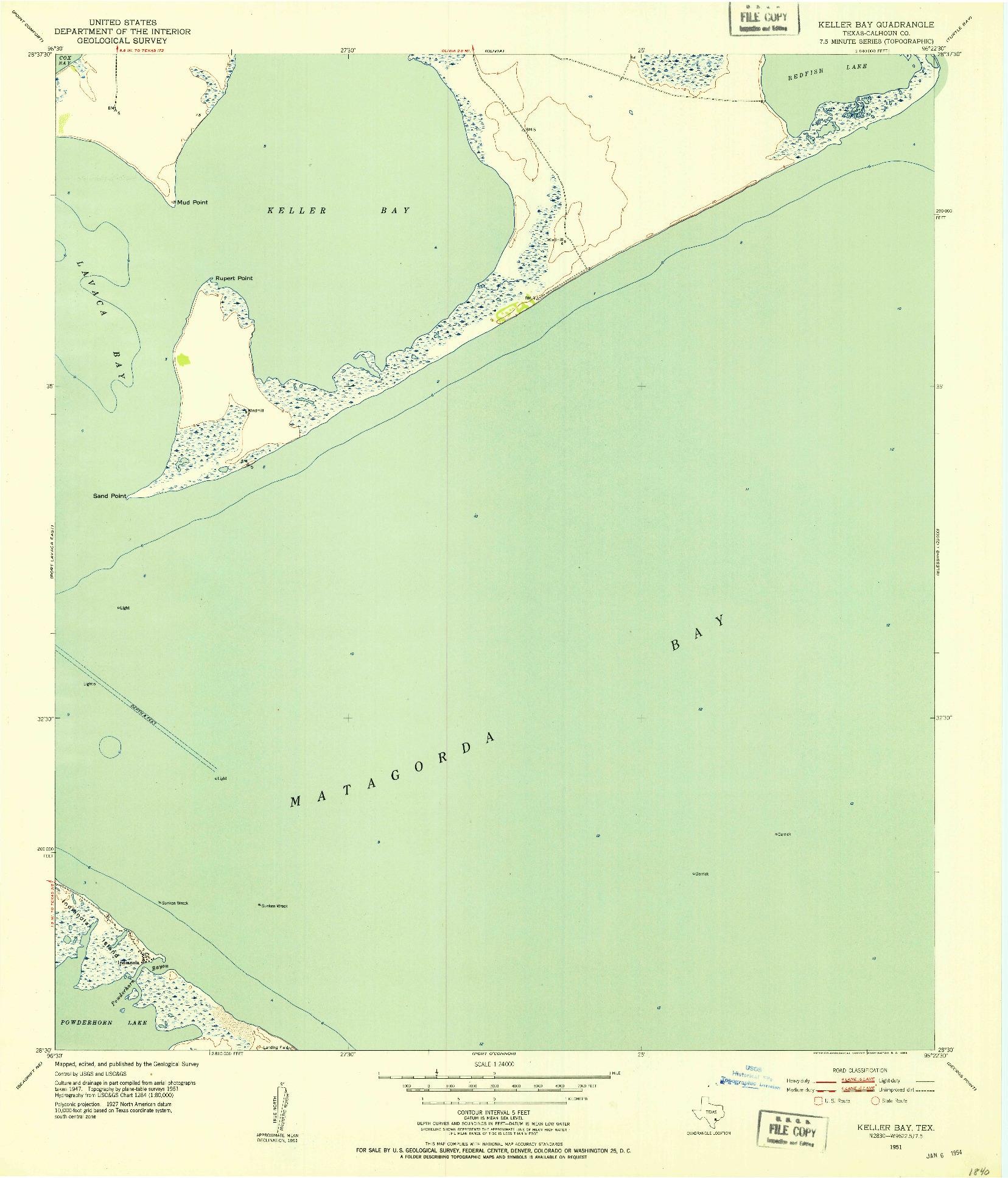 USGS 1:24000-SCALE QUADRANGLE FOR KELLER BAY, TX 1951