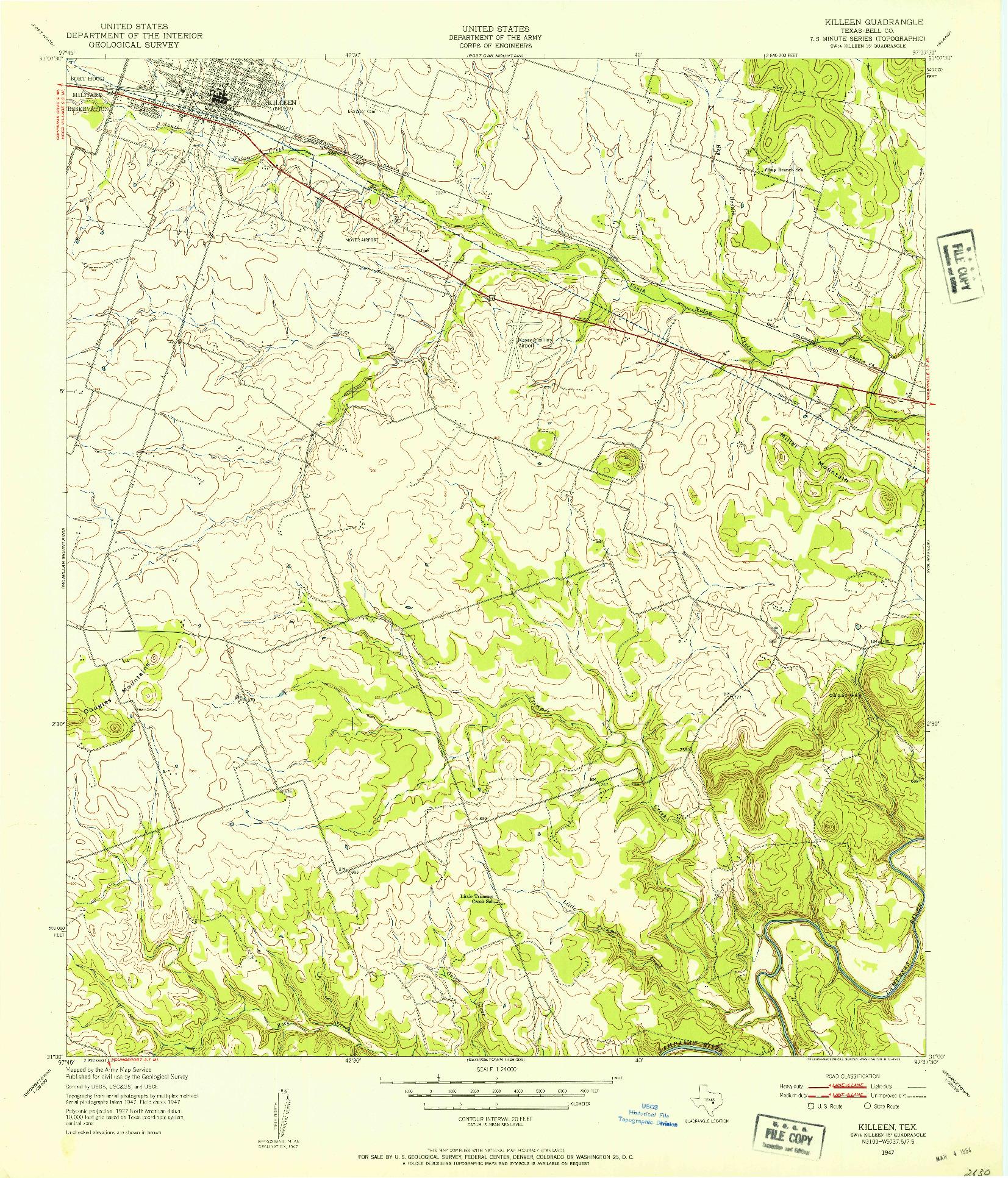 USGS 1:24000-SCALE QUADRANGLE FOR KILLEEN, TX 1947