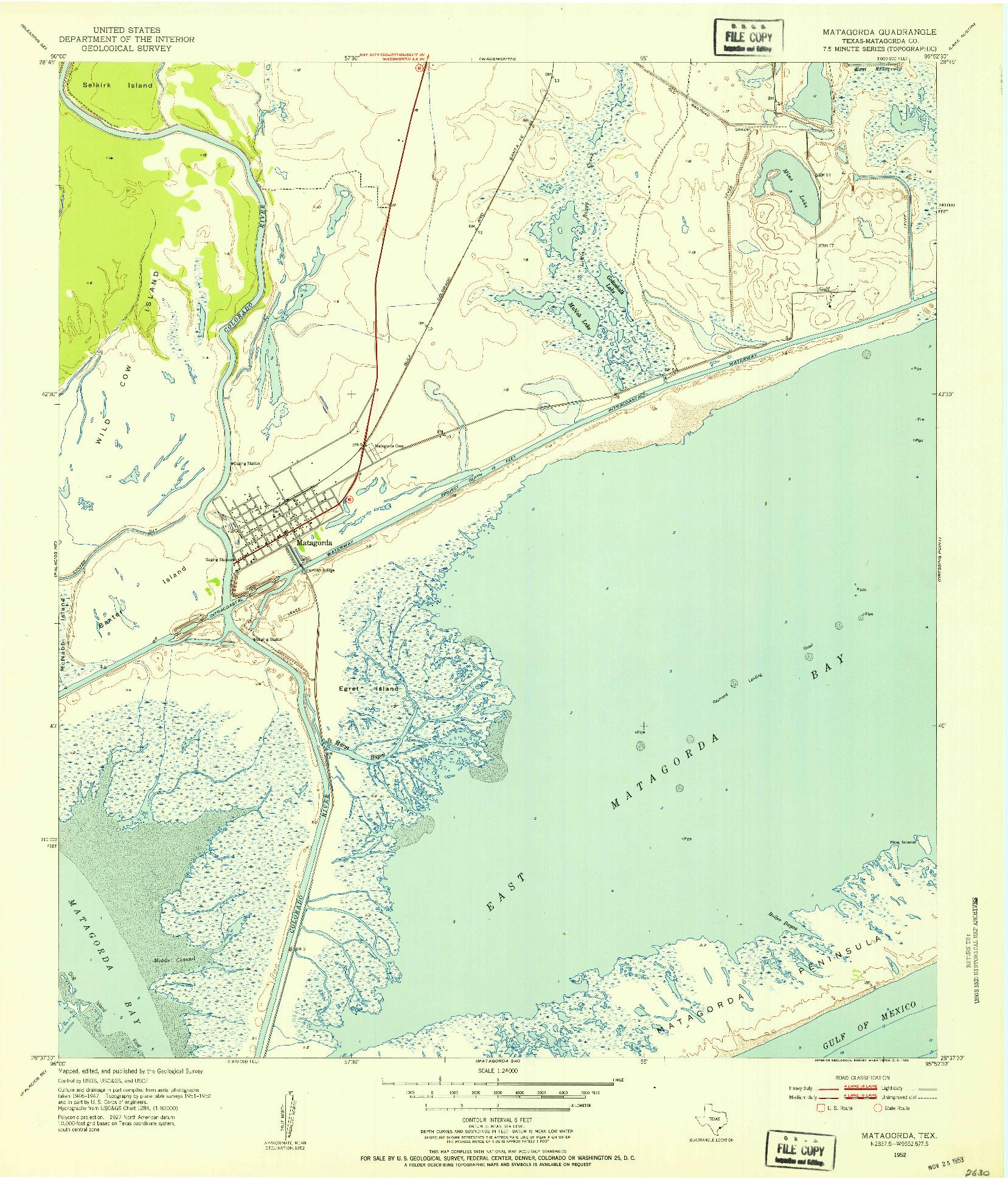 USGS 1:24000-SCALE QUADRANGLE FOR MATAGORDA, TX 1952