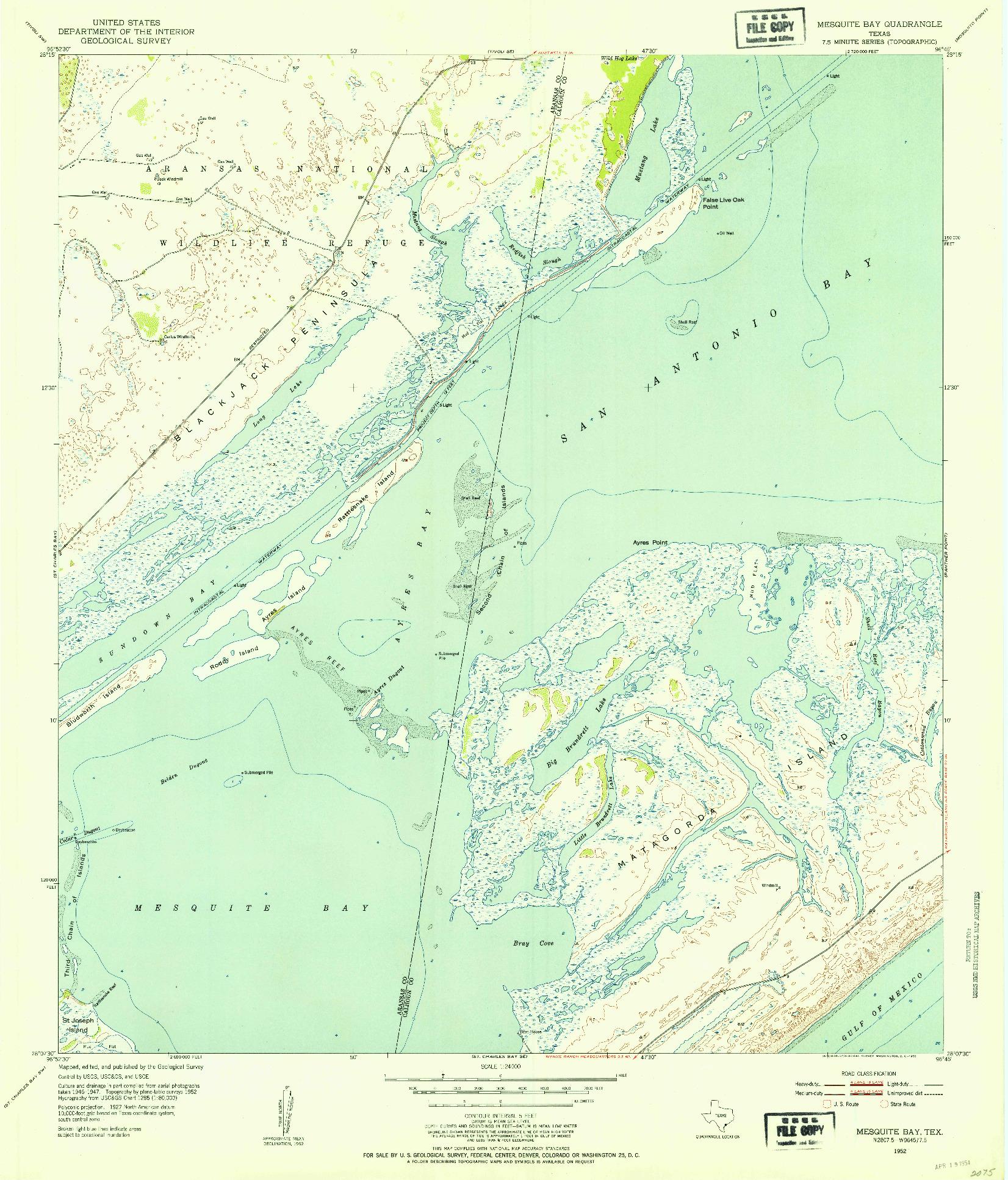 USGS 1:24000-SCALE QUADRANGLE FOR MESQUITE BAY, TX 1952