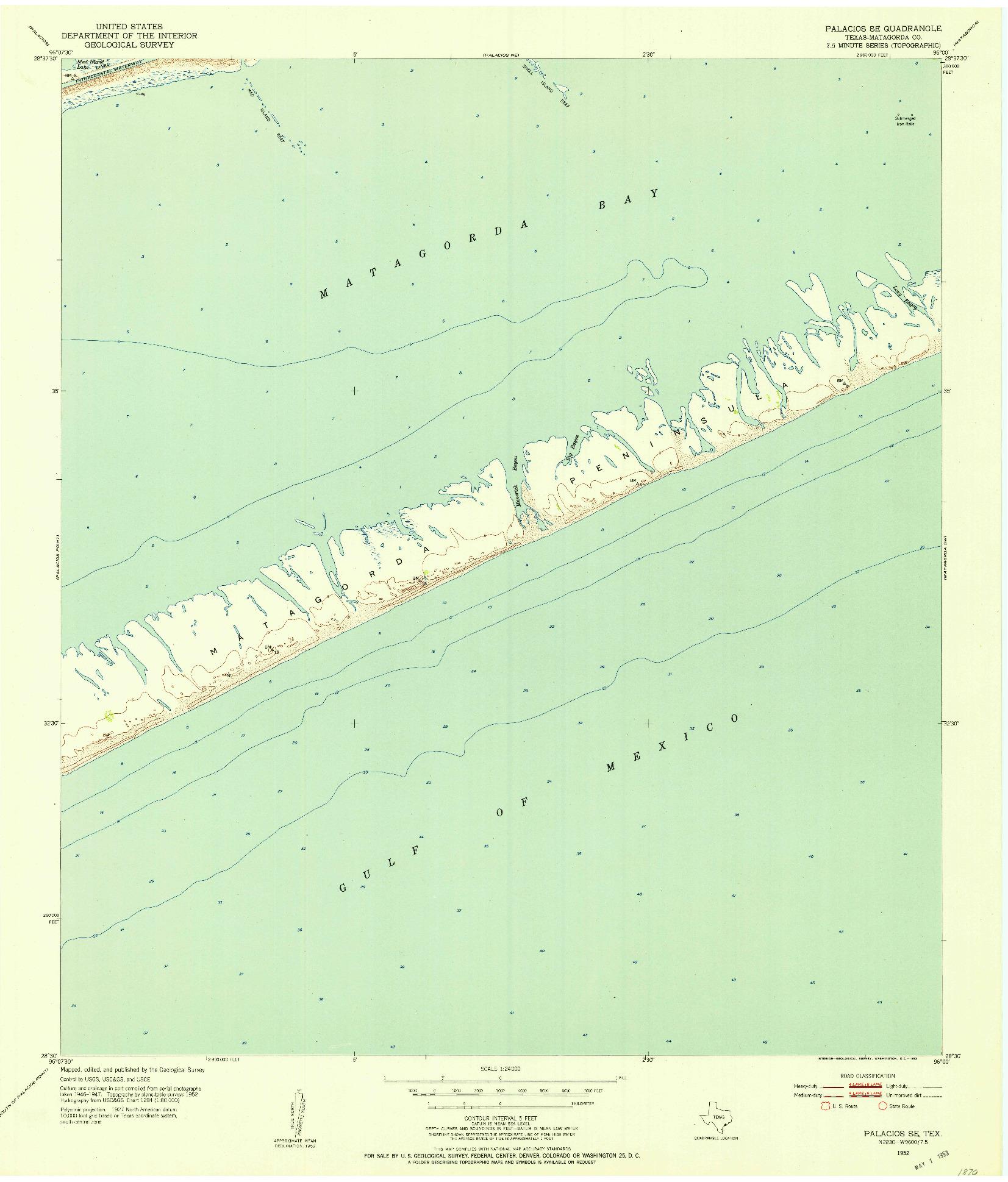 USGS 1:24000-SCALE QUADRANGLE FOR PALACIOS SE, TX 1952